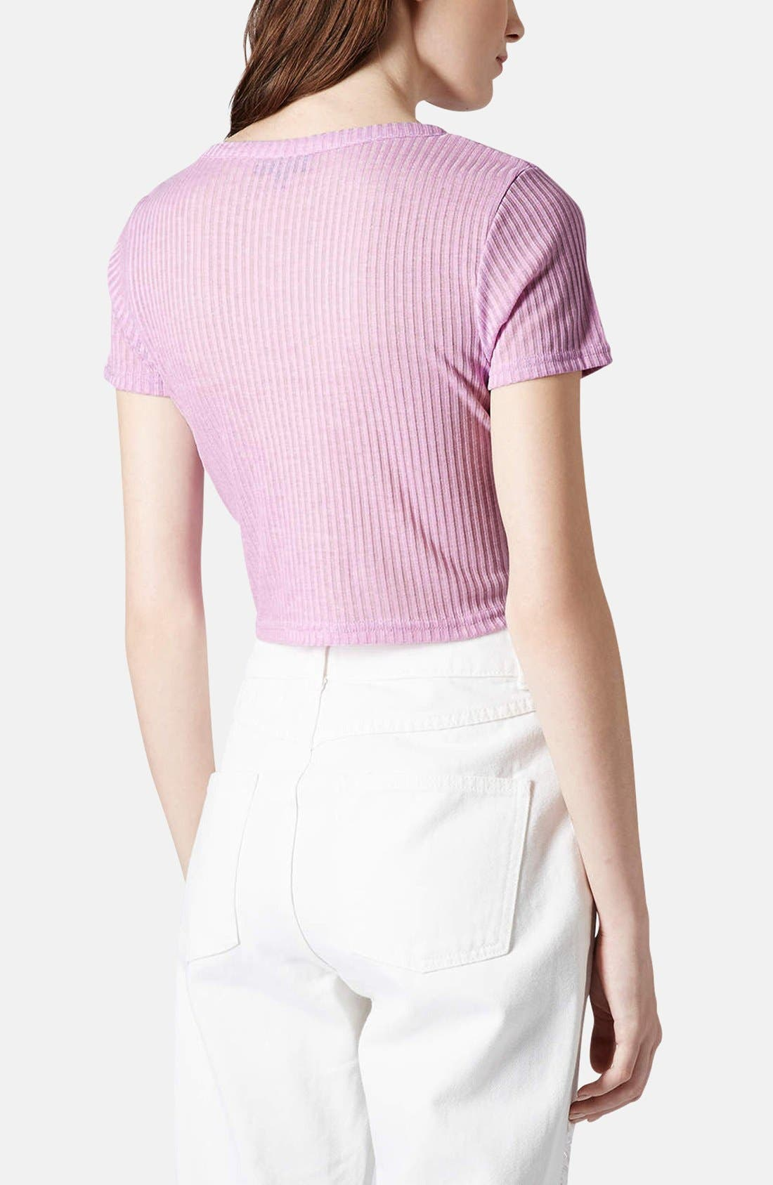Alternate Image 2  - Topshop Ribbed Crop Tee