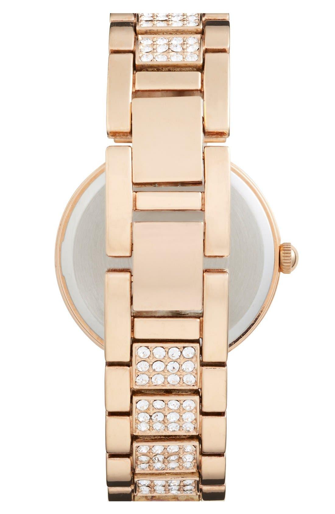 Alternate Image 2  - Anne Klein Pavé Crystal Bracelet Watch, 32mm
