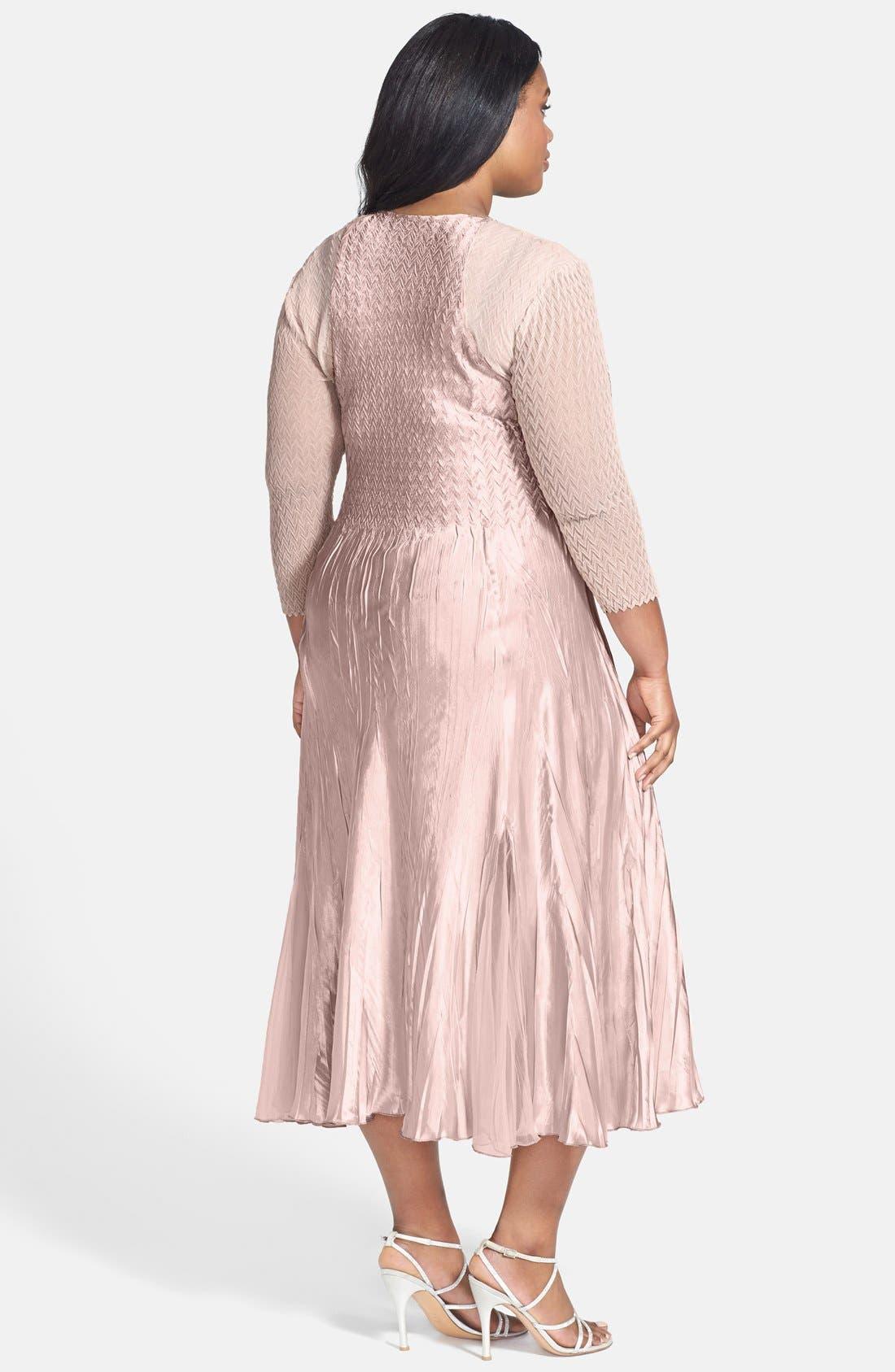 Alternate Image 2  - Komarov Embellished Square Neck Chiffon & Charmeuse Dress (Plus Size)