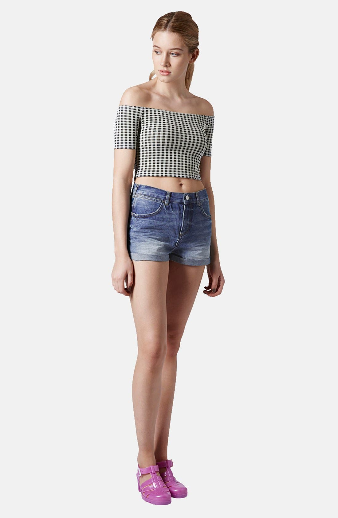 Alternate Image 5  - Topshop 'Rosa' High Rise Denim Shorts (Mid) (Petite)