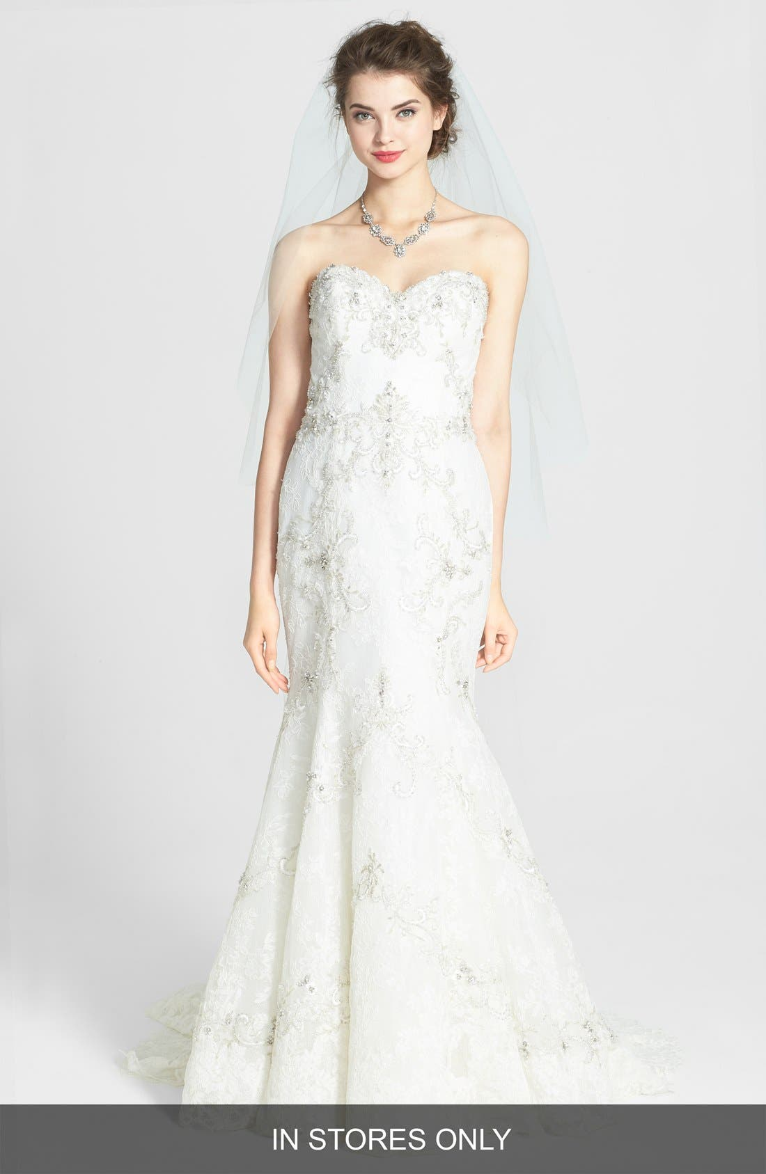 Main Image - Watters 'Olina' Beaded Lace Mermaid Dress (In Stores Only)