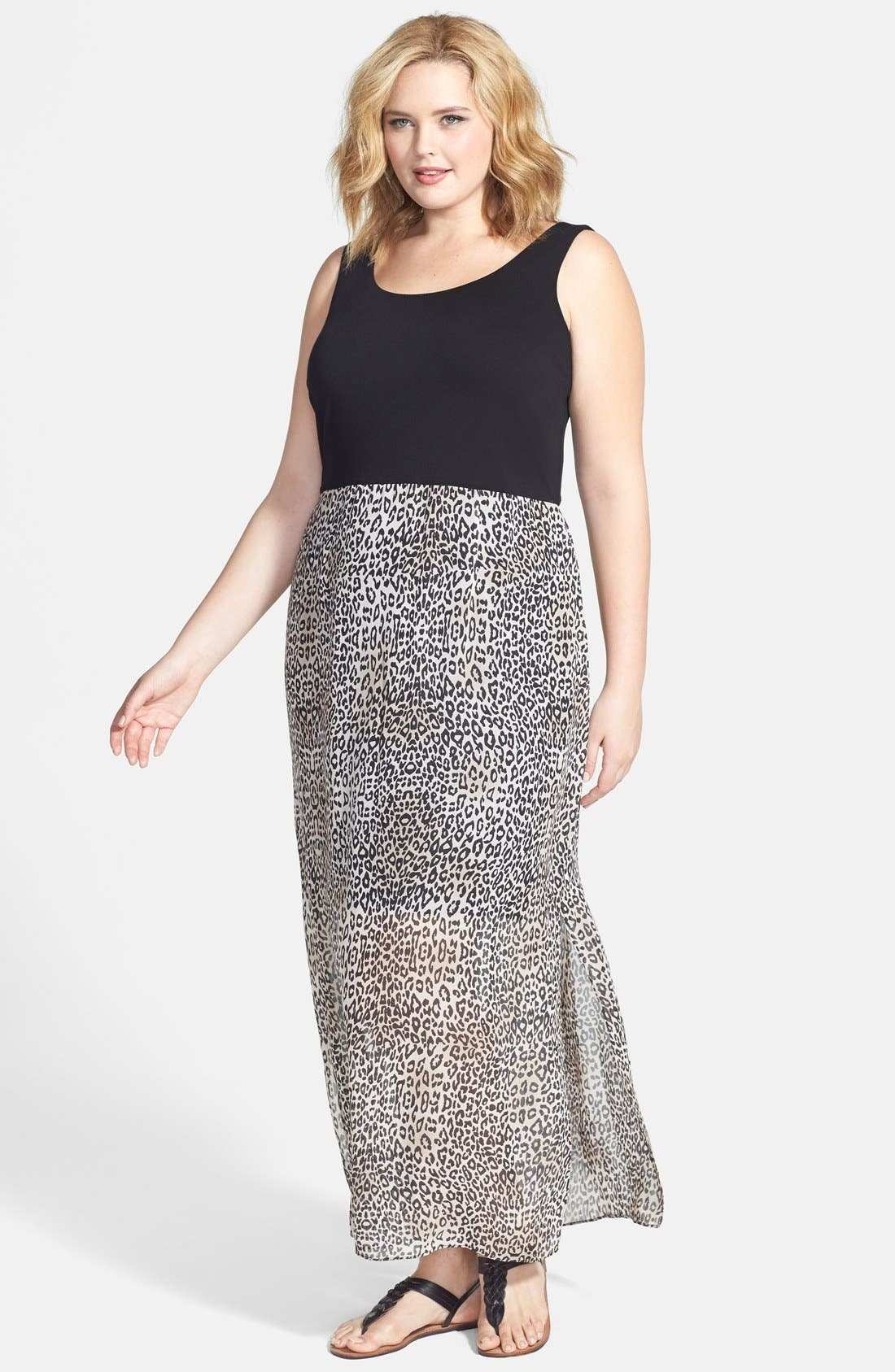 Main Image - Vince Camuto 'Desert Leopard' Chiffon Overlay Maxi Dress (Plus Size)