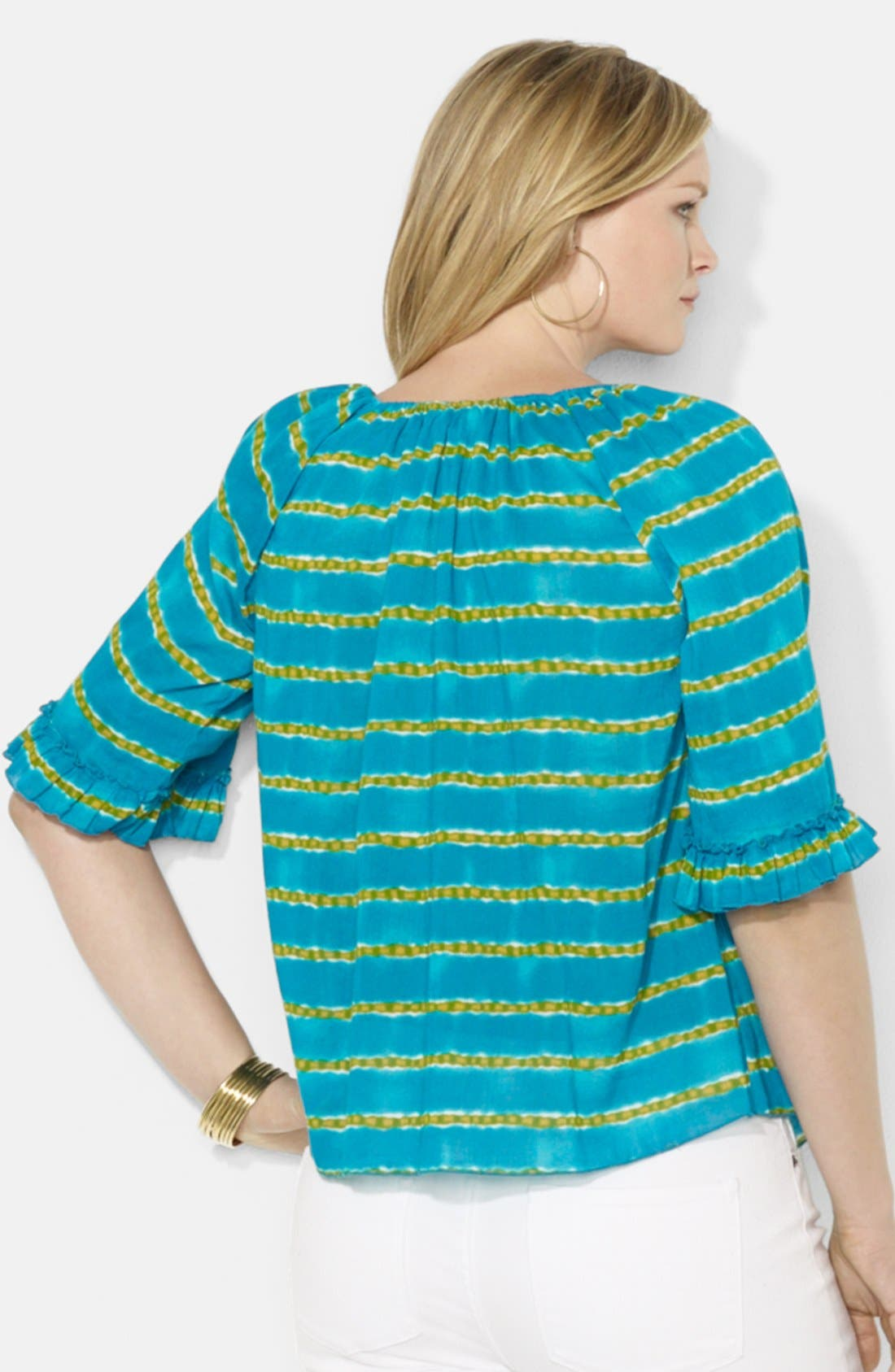 Alternate Image 2  - Lauren Ralph Lauren Striped Cotton Peasant Top (Plus Size)