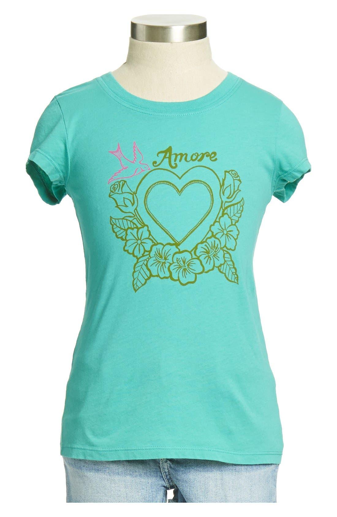 Main Image - Peek 'Amore' Graphic Cotton Tee (Toddler Girls, Little Girls & Big Girls)