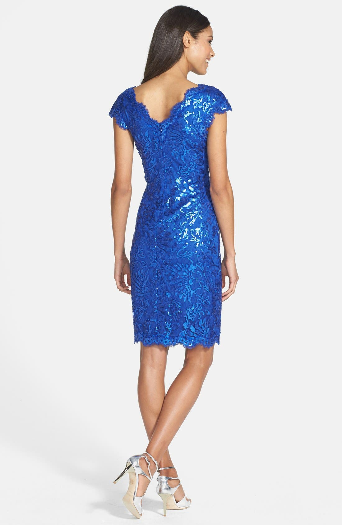 Alternate Image 2  - Tadashi Shoji Sequin Lace Sheath Dress