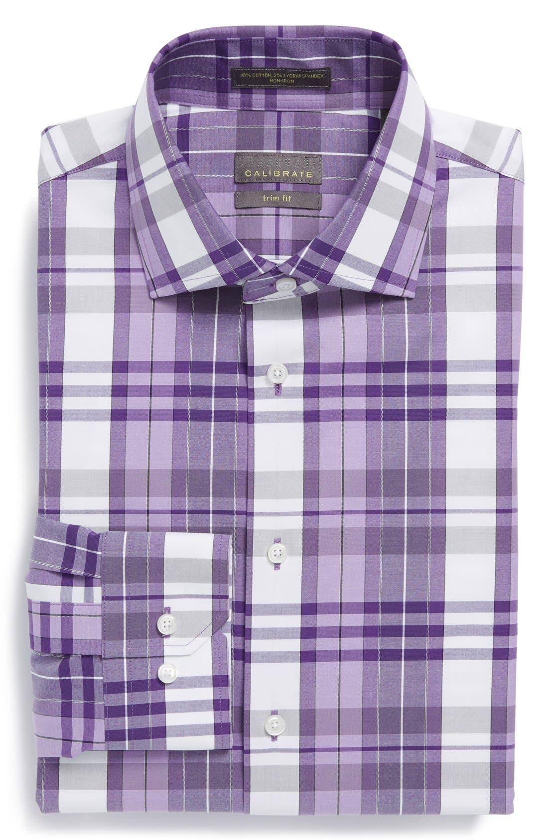 Alternate Image 1 Selected - Calibrate Trim Fit Non-Iron Stretch Plaid Dress Shirt