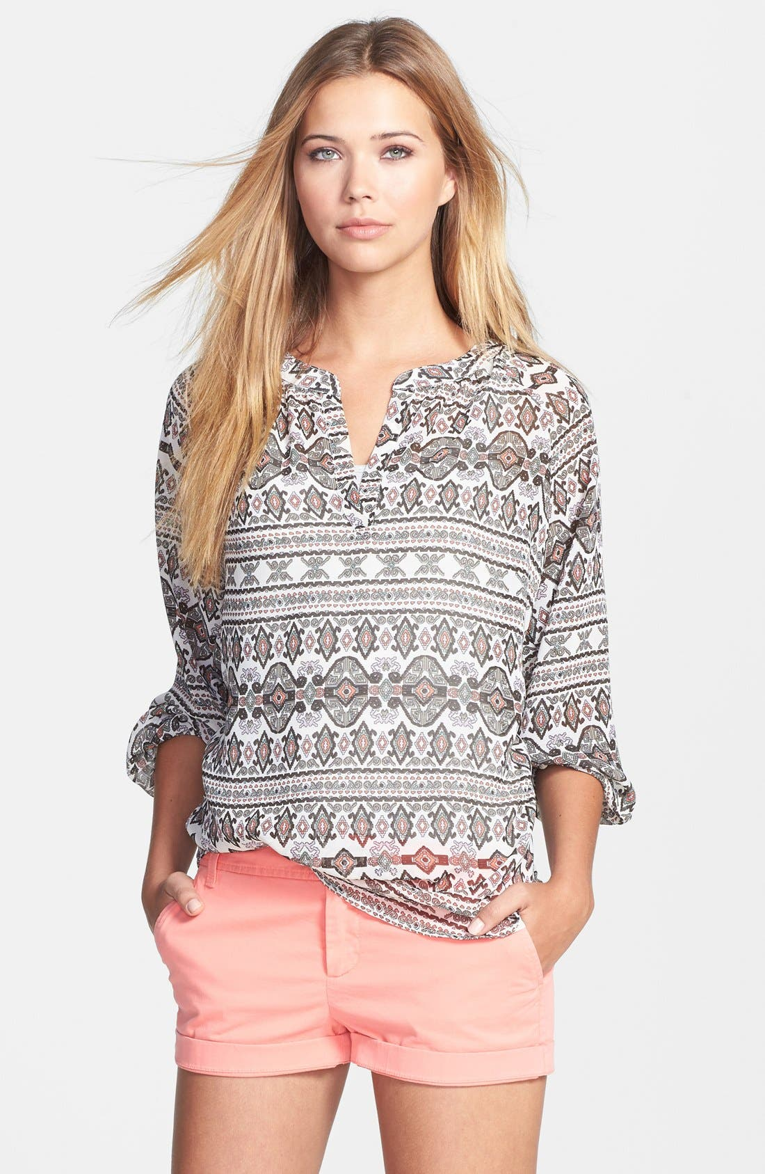 Main Image - Sandra Ingrish Print Split Neck Peasant Blouse