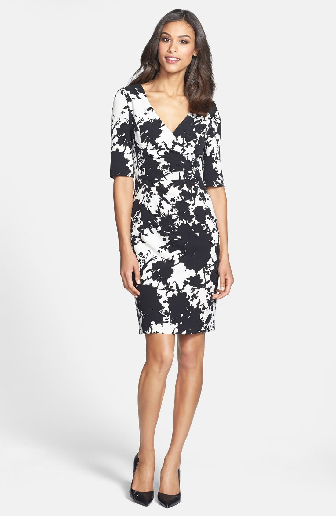 Alternate Image 5  - Adrianna Papell Floral Print Crepe Sheath Dress (Online Only)
