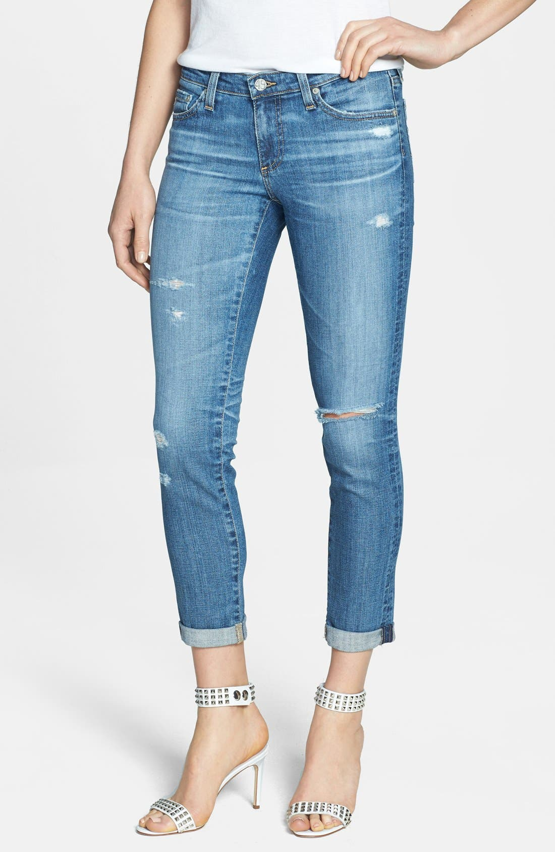 Alternate Image 1 Selected - AG 'Stilt' Distressed Roll Cuff Cigarette Jeans (18 Year Flyaway)