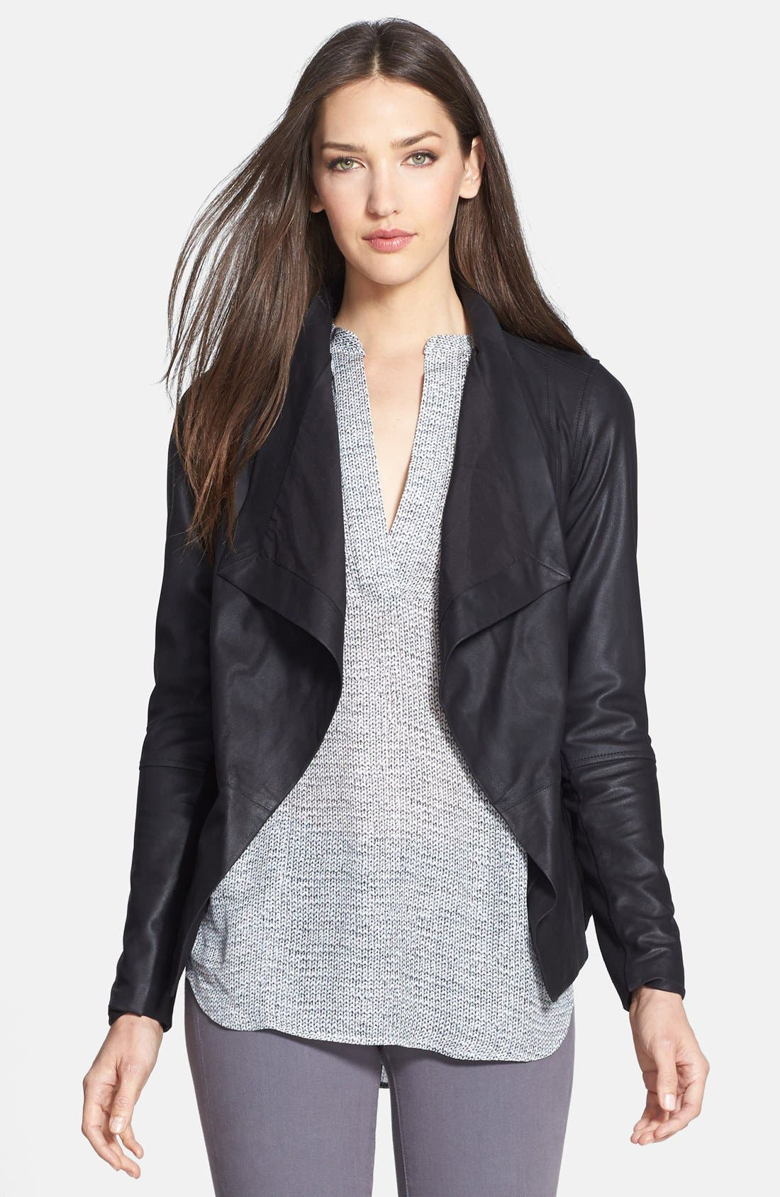 Main Image - Vince Drape Neck Leather Jacket