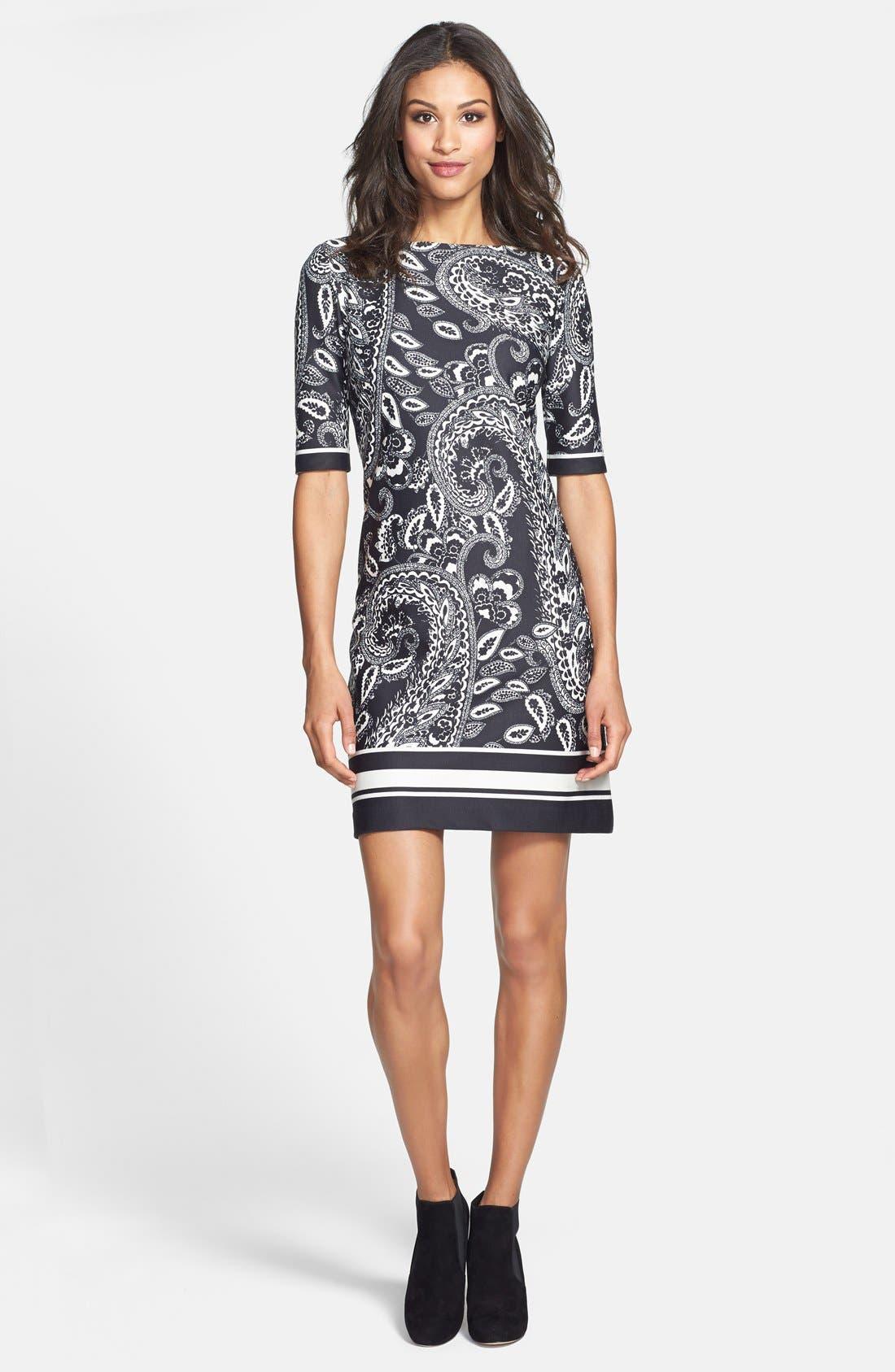 Alternate Image 3  - Eliza J Print Ponte Knit Shift Dress (Online Only)
