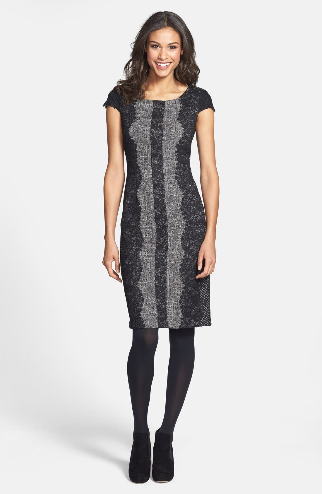 Alternate Image 3  - Betsey Johnson Lace Trim Tweed Sheath Dress