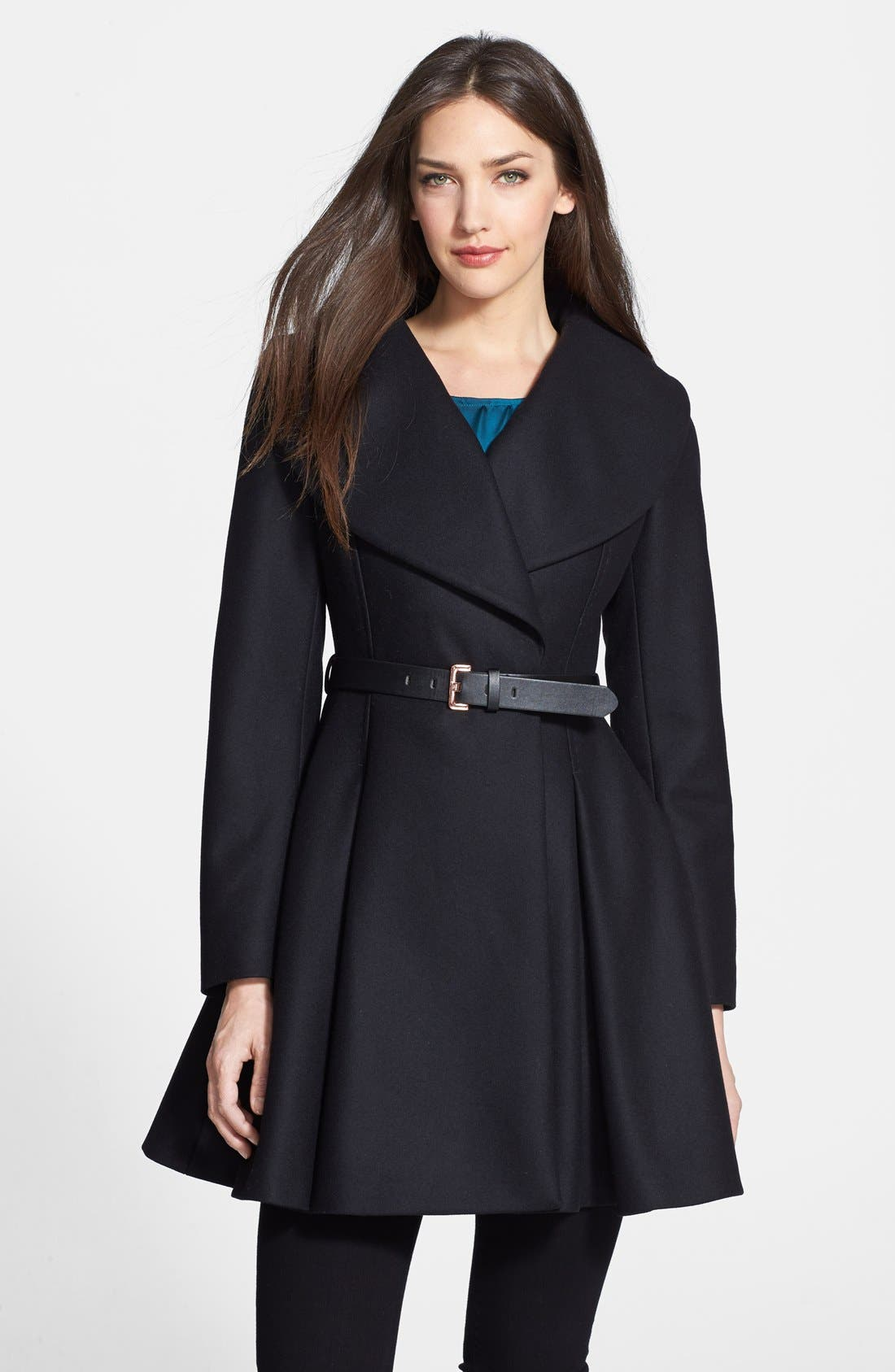 Main Image - Ted Baker London Belted Flare Skirt Wool & Cashmere Blend Coat