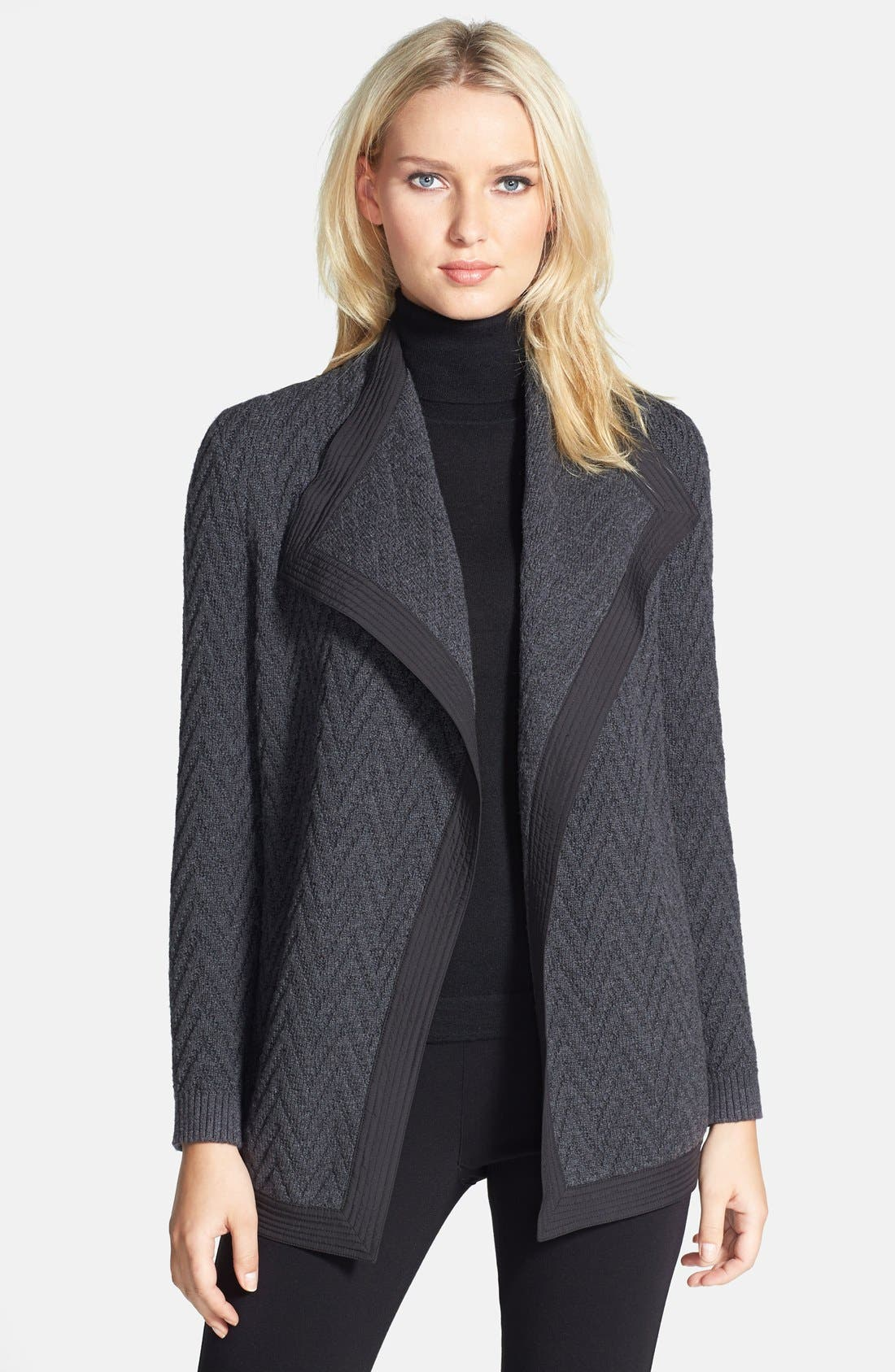 Alternate Image 1 Selected - Lafayette 148 New York Woven Back Zigzag Merino Wool Cardigan (Regular & Petite)