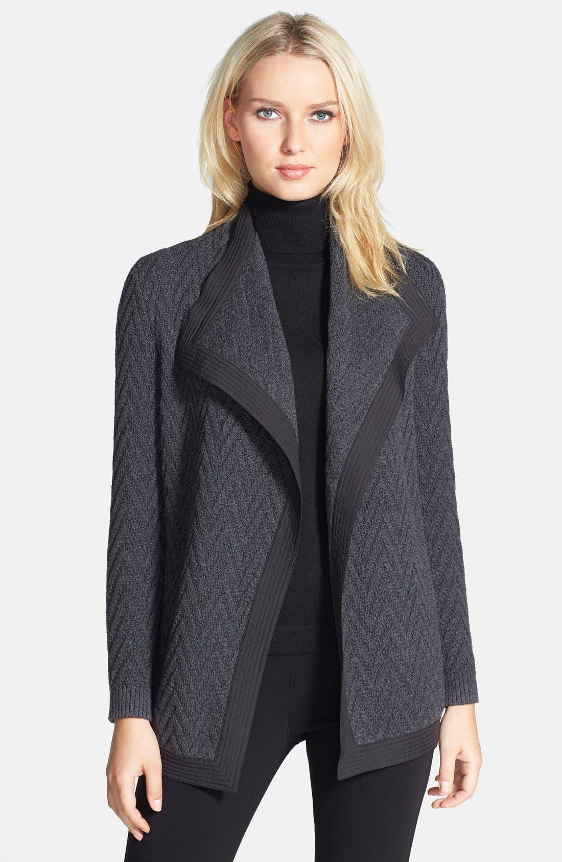 Main Image - Lafayette 148 New York Woven Back Zigzag Merino Wool Cardigan (Regular & Petite)