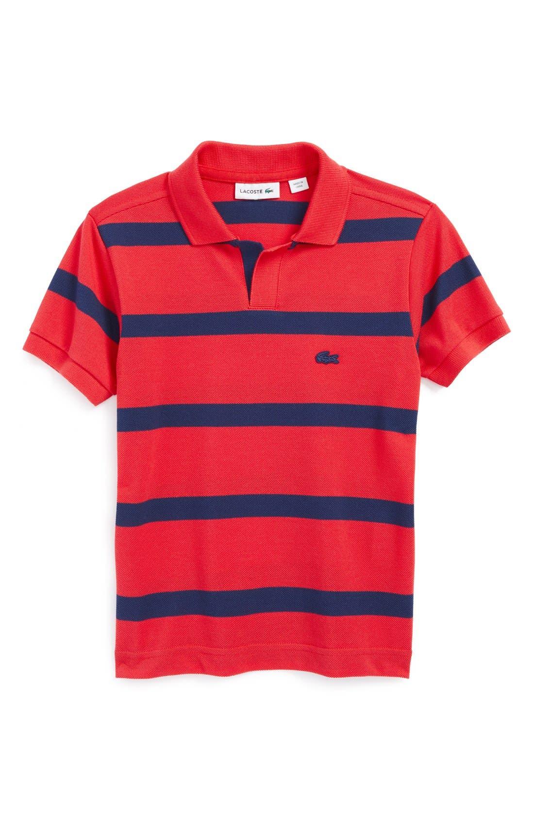 Alternate Image 1 Selected - Lacoste Stripe Cotton Piqué Polo (Toddler Boys)