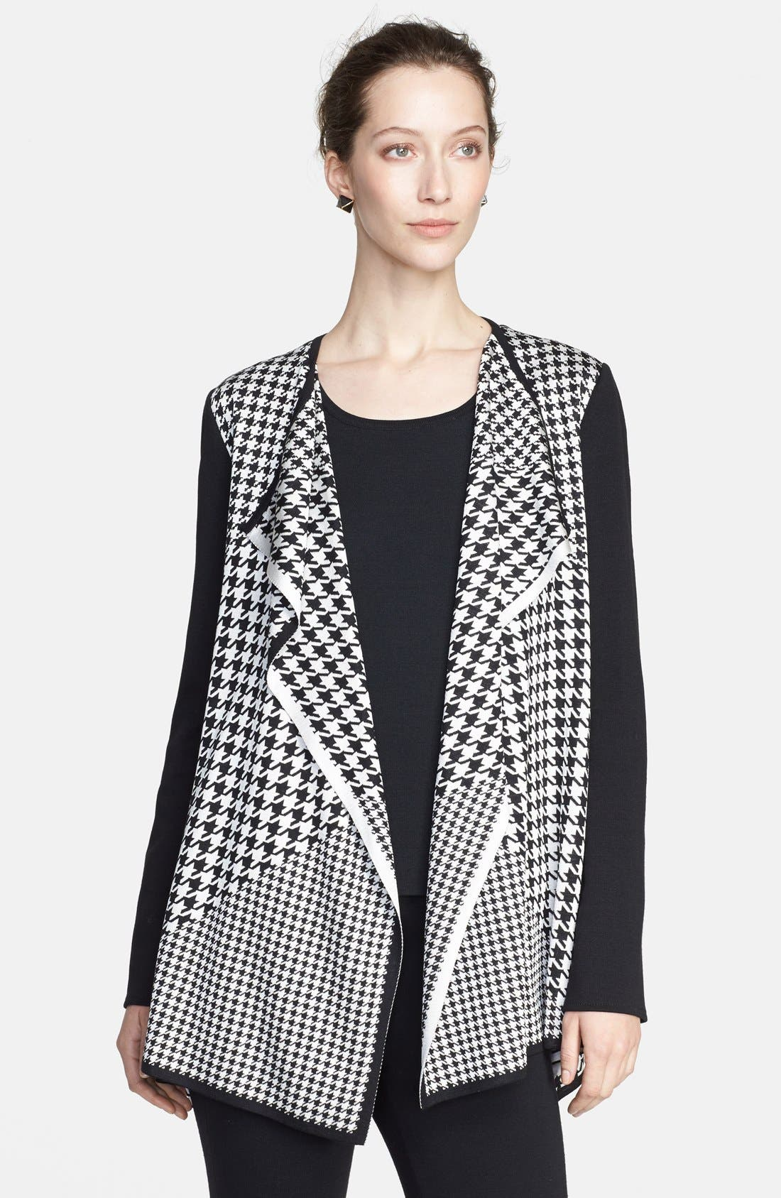 Main Image - St. John Collection Multi Scale Houndstooth Jacquard Knit Cardigan