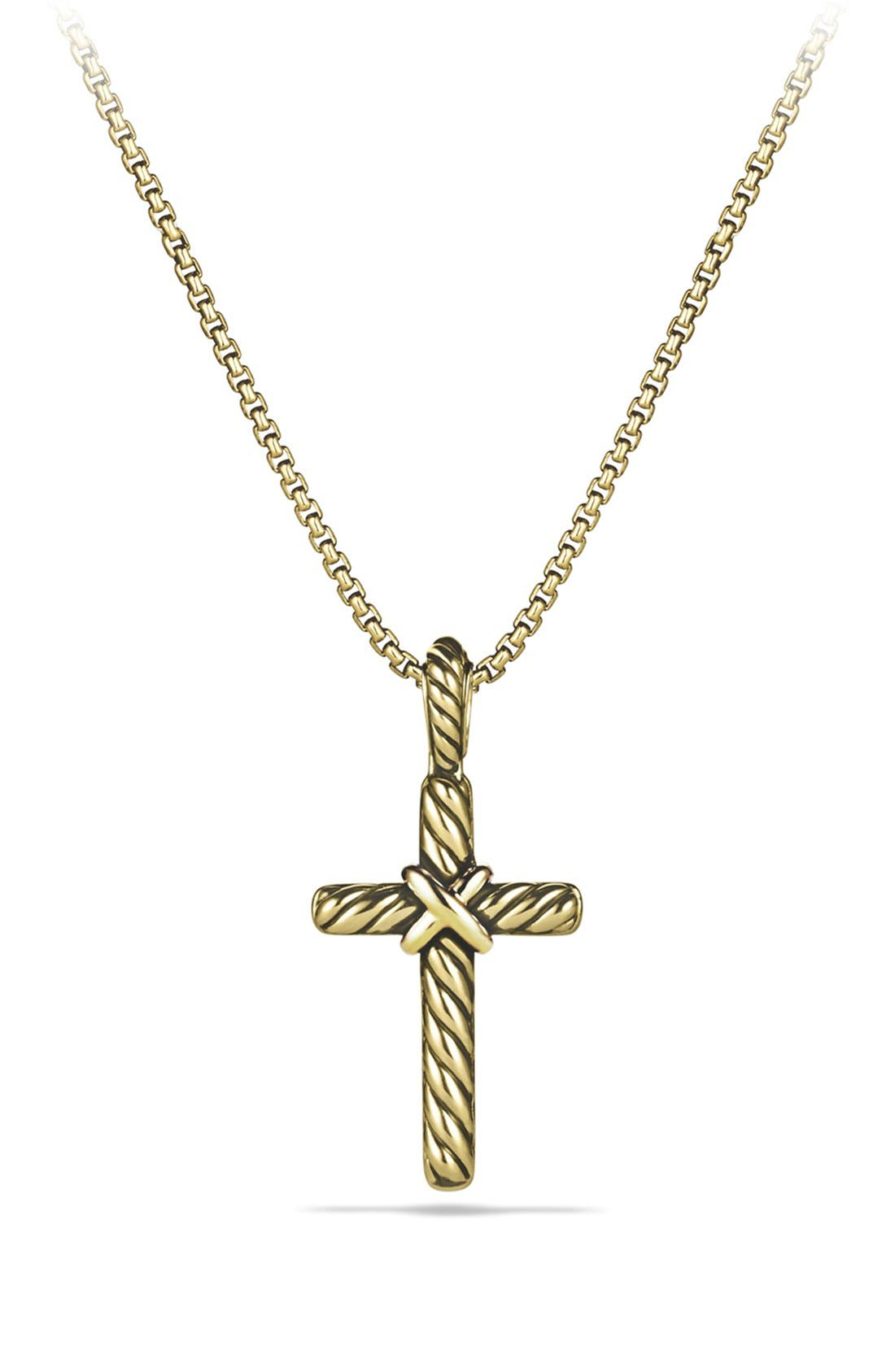 Alternate Image 2  - David Yurman 'Cable Collectibles - X' Cross with Diamonds in Gold on Chain