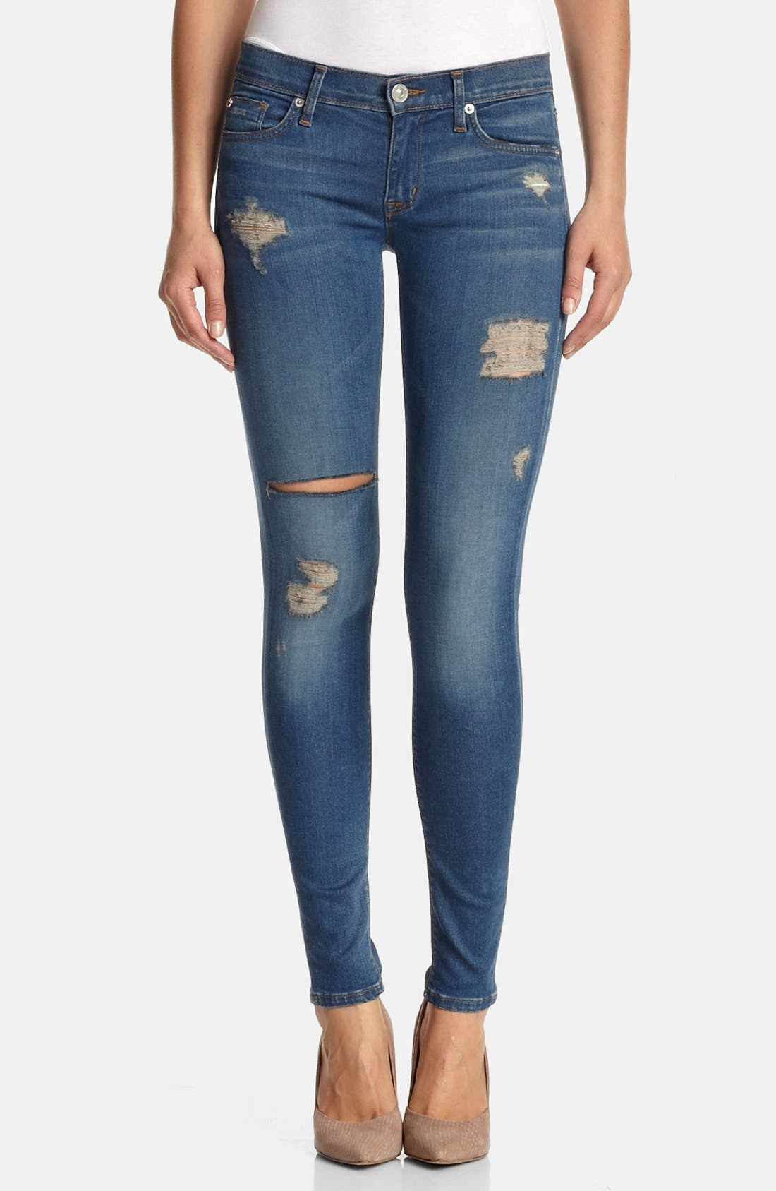 Main Image - Hudson Jeans 'Krista' Super Skinny Jeans (Foxey)