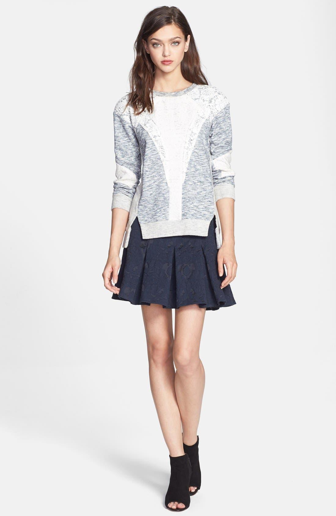 Alternate Image 4  - Rebecca Taylor Lace Insert Sweatshirt