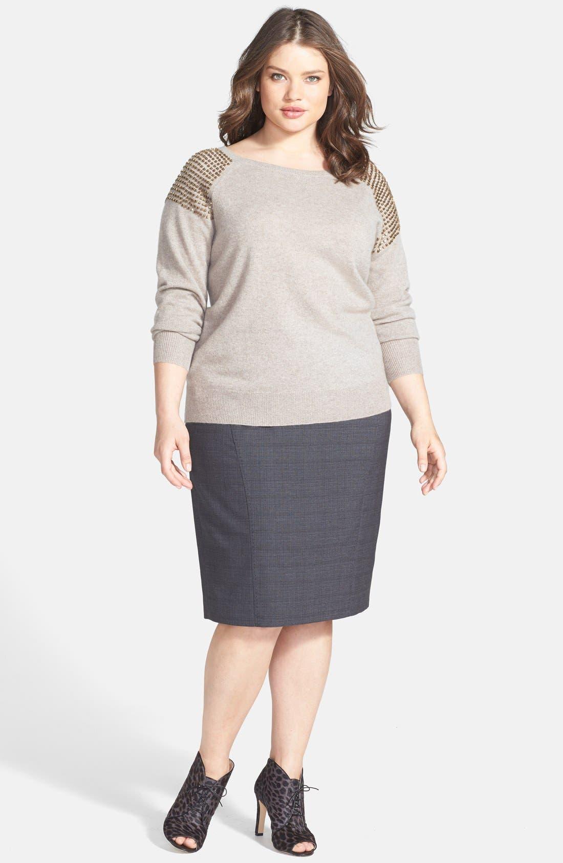 Alternate Image 4  - Sejour 'Charcoal Crosshatch' Suit Skirt (Plus Size)