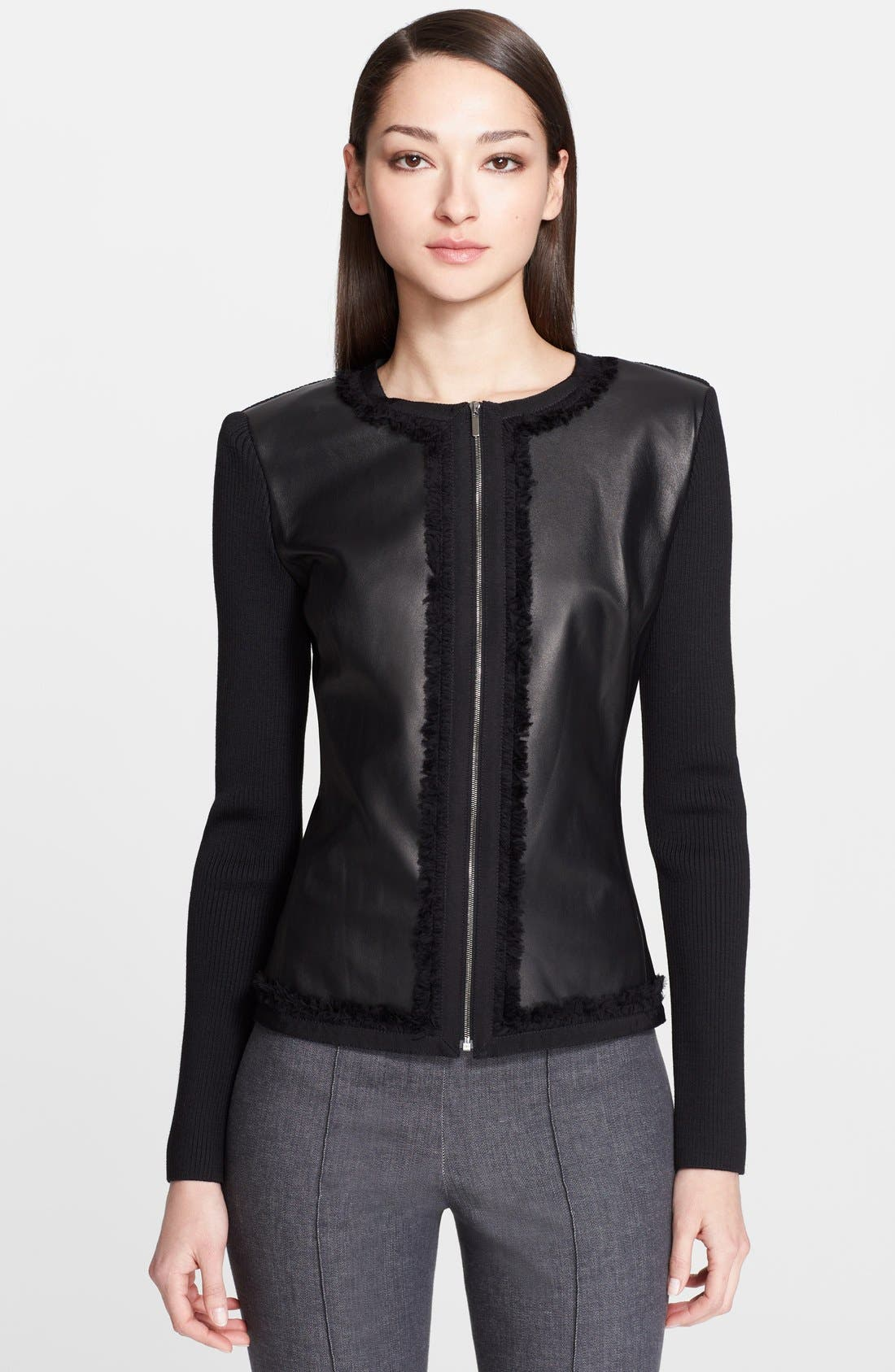 Alternate Image 1 Selected - St. John Collection Leather & Milano Knit Jacket with Organza Trim