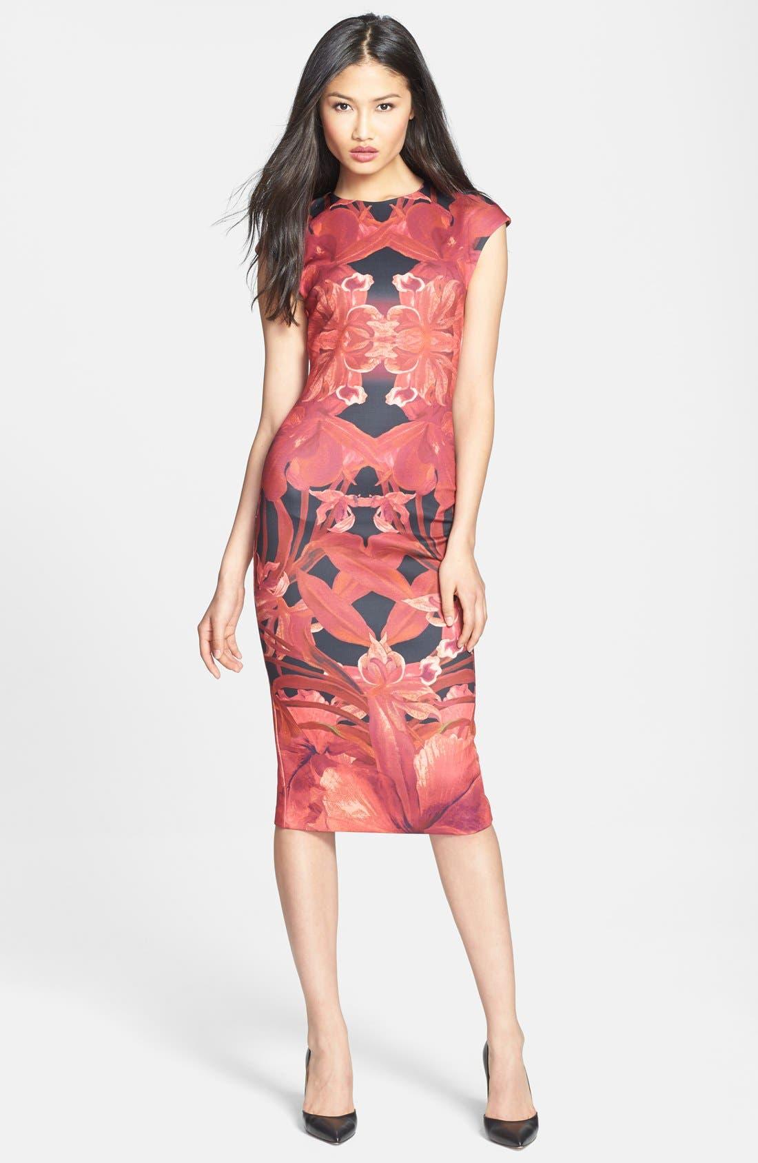 Alternate Image 1 Selected - Ted Baker London 'Jungle Orchid' Print Neoprene Midi Dress