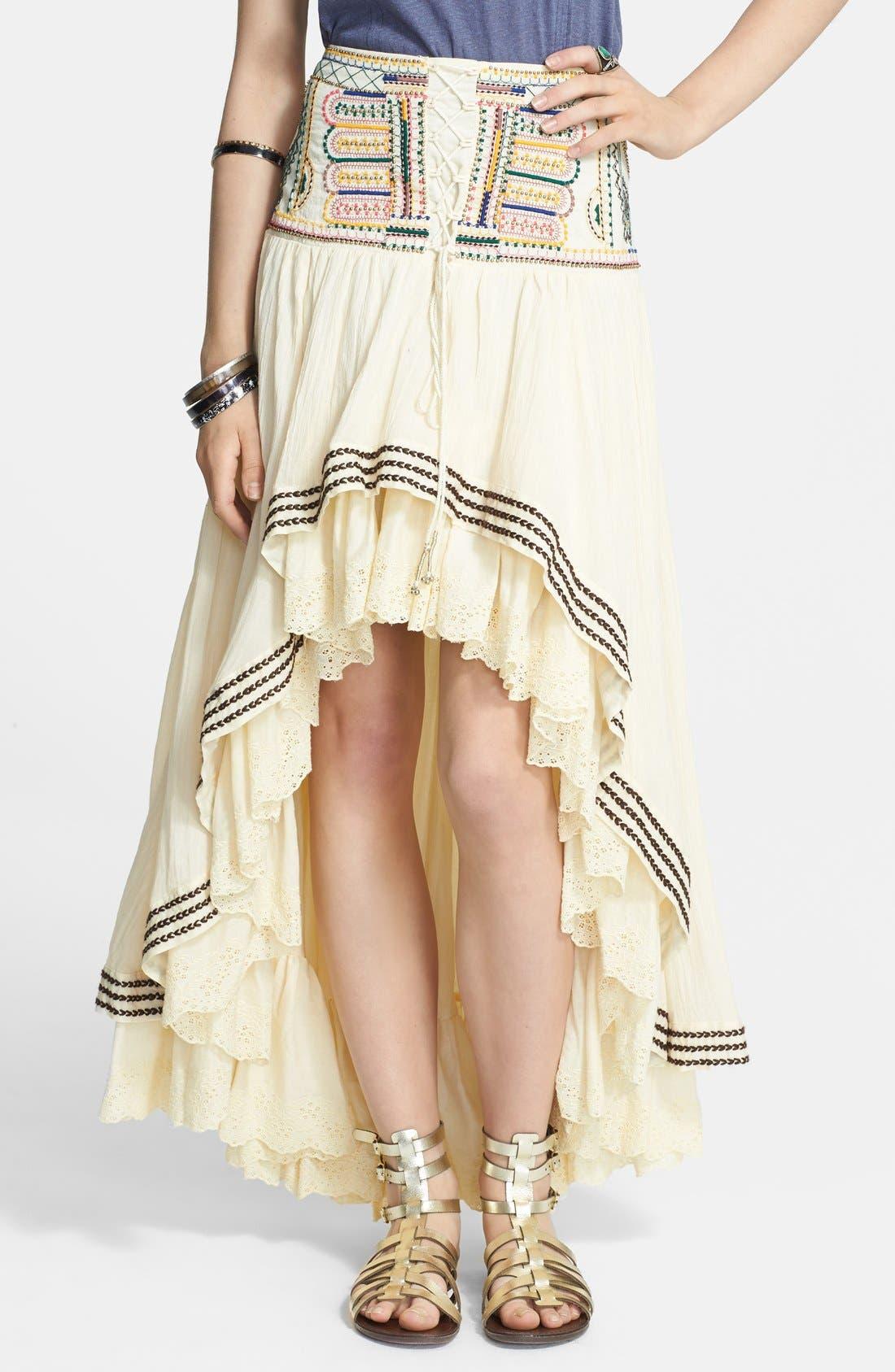 Main Image - Free People 'Prairie Dreams' Cotton Blend High/Low Skirt
