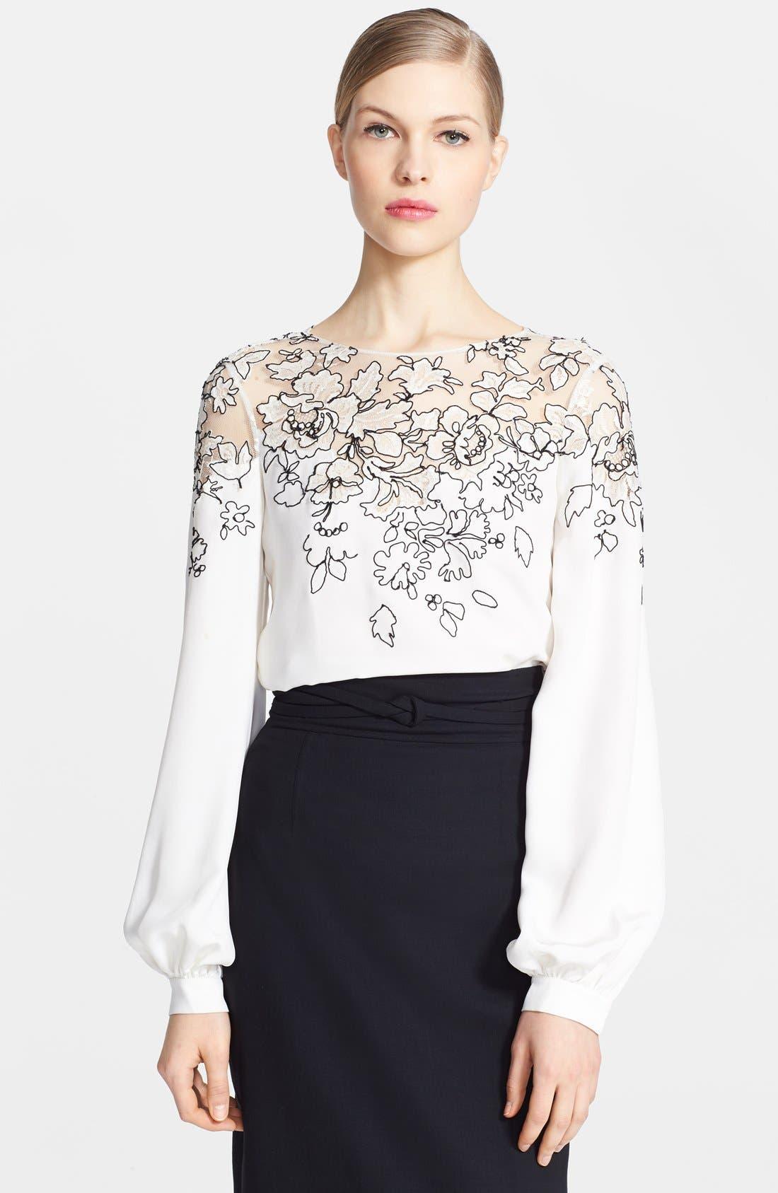 Alternate Image 3  - Oscar de la Renta Embroidered Silk Blouse