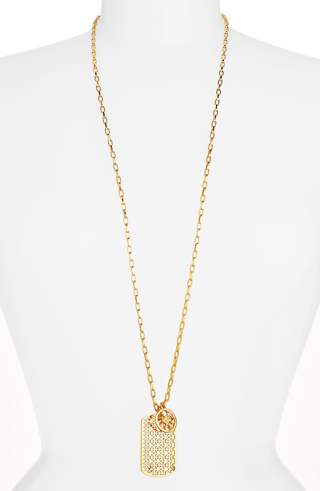 Alternate Image 1 Selected - Tory Burch 'Kinsley' Long Dog Tag Pendant Necklace