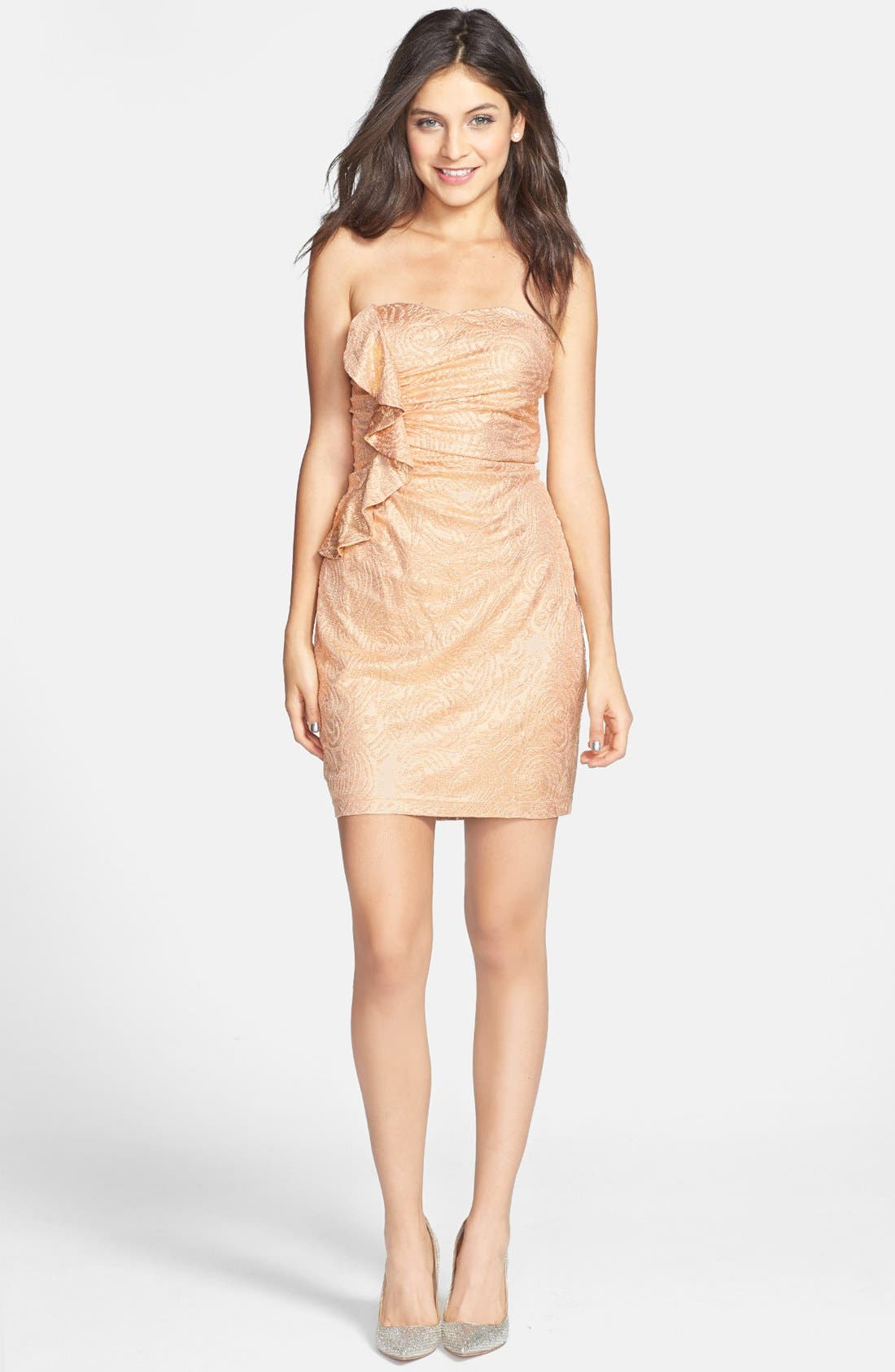 Alternate Image 1 Selected - Hailey Logan Ruffle Metallic Tube Dress (Juniors) (Online Only)