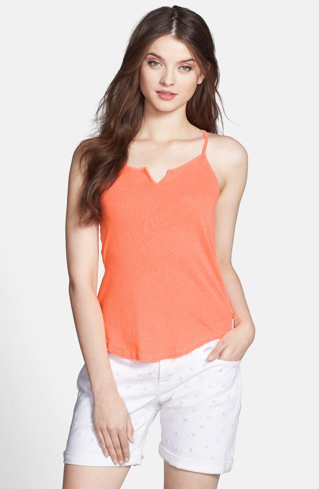 Main Image - Lucky Brand Split Neck Linen Knit Tank