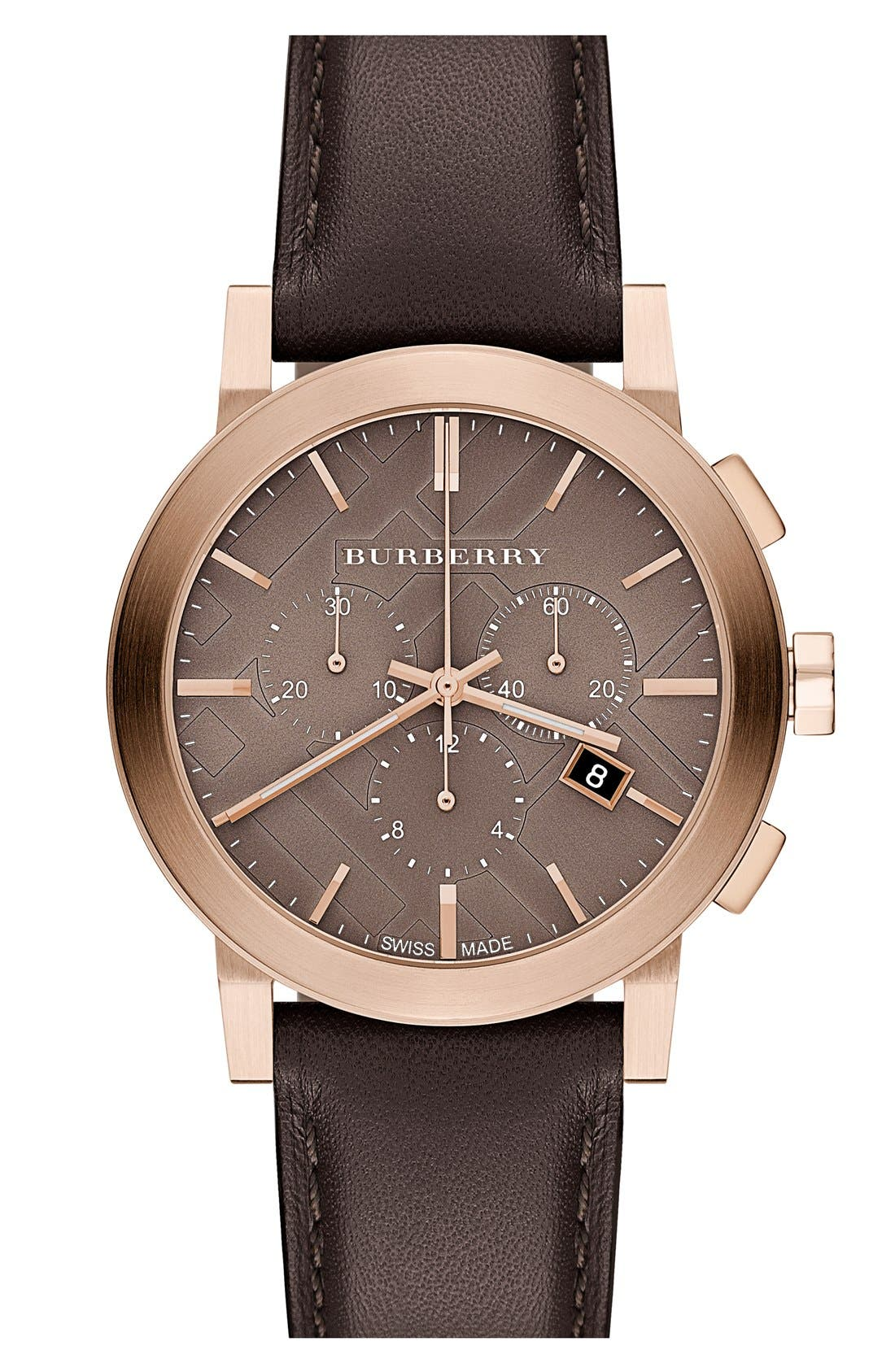 Main Image - Burberry Check Stamped Leather Strap Watch, 38mm