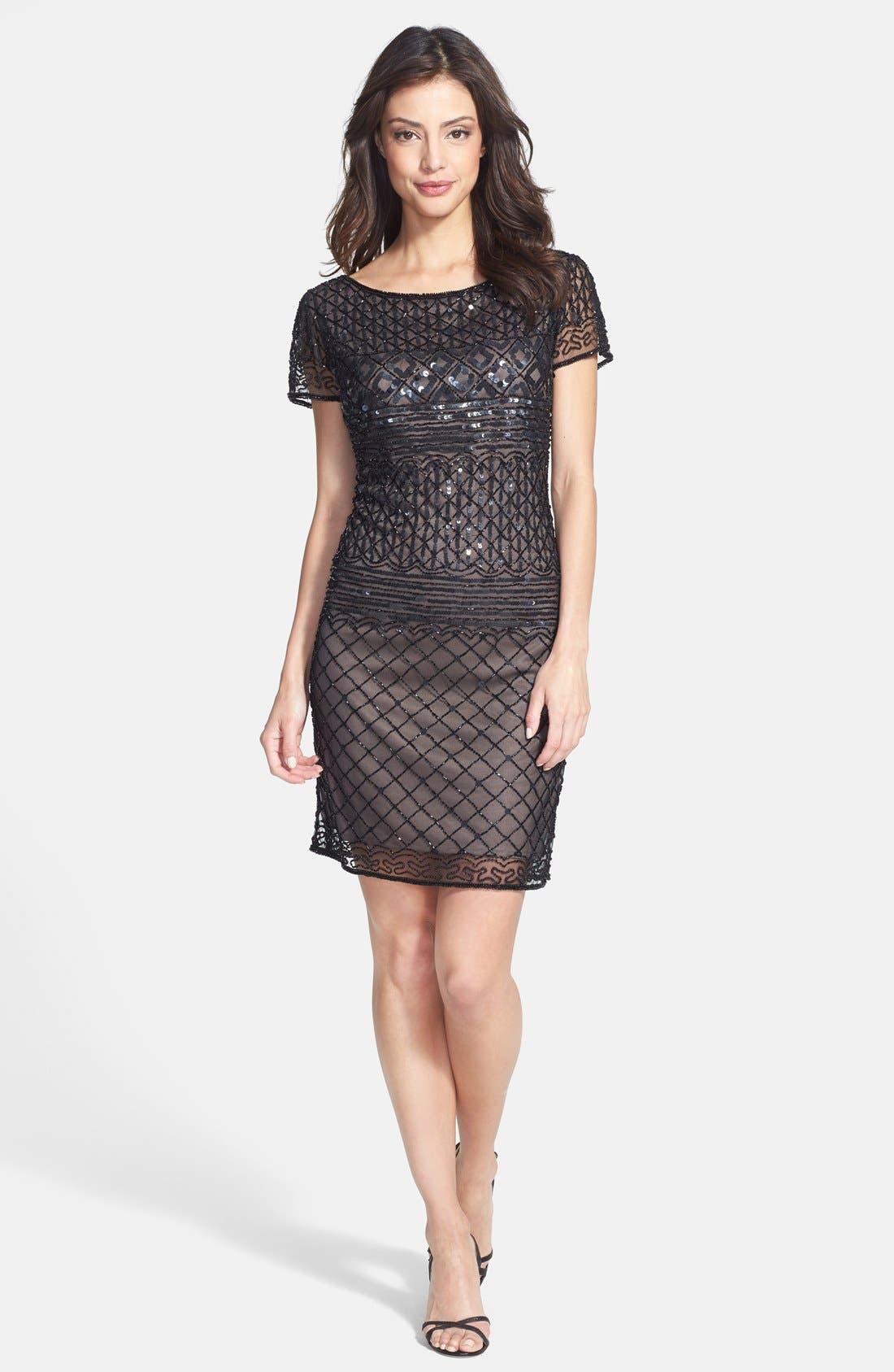 Alternate Image 3  - Pisarro Nights Beaded Short Sleeve Dress (Regular & Petite)