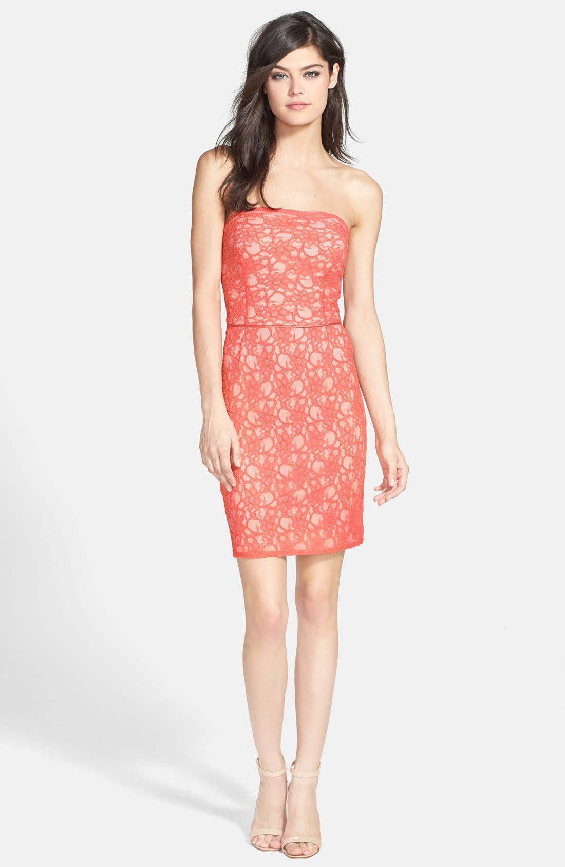 Main Image - Hailey by Adrianna Papell Strapless Lace Sheath Dress