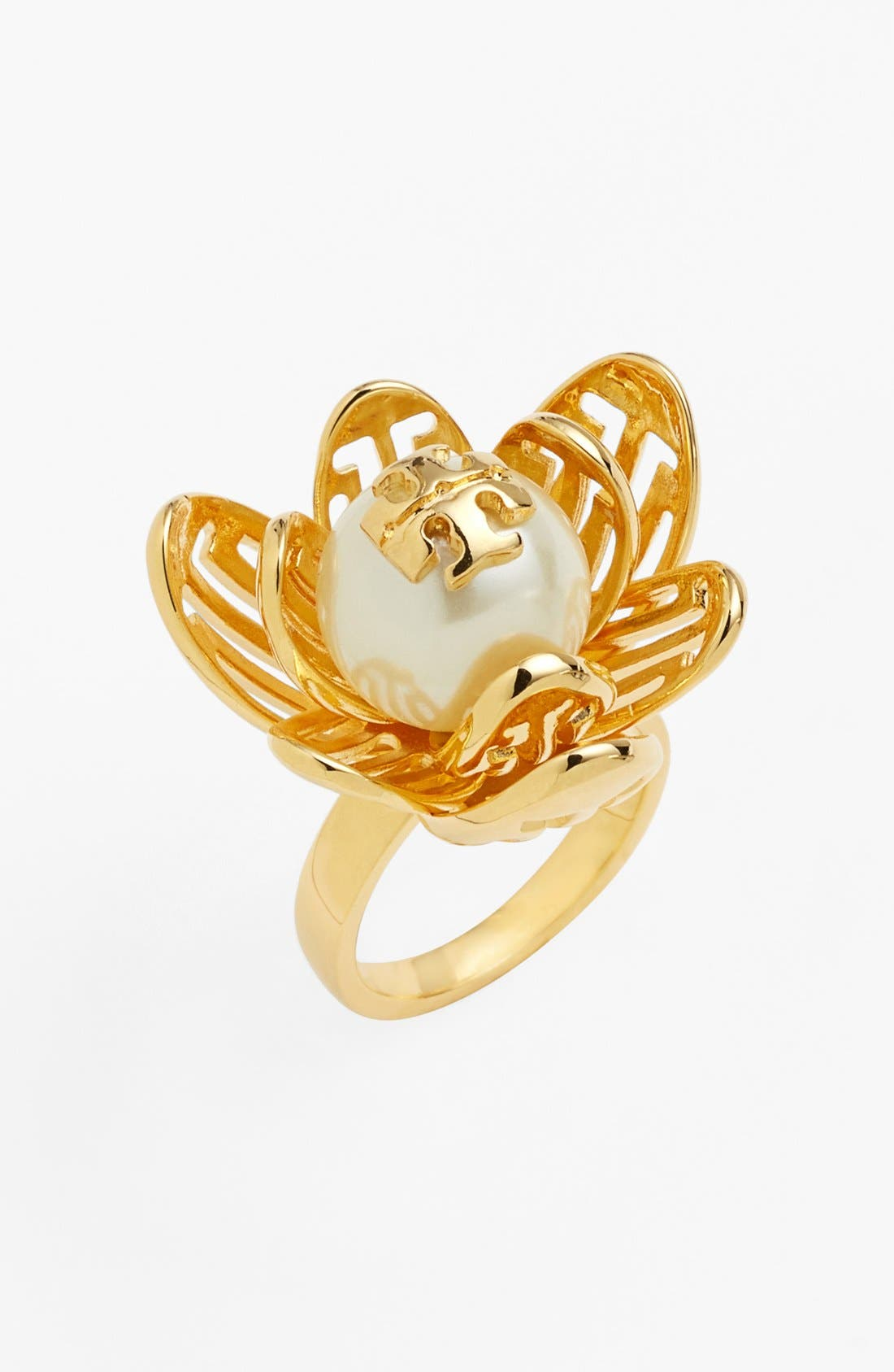 Alternate Image 1 Selected - Tory Burch 'Caras' Logo Faux Pearl Ring