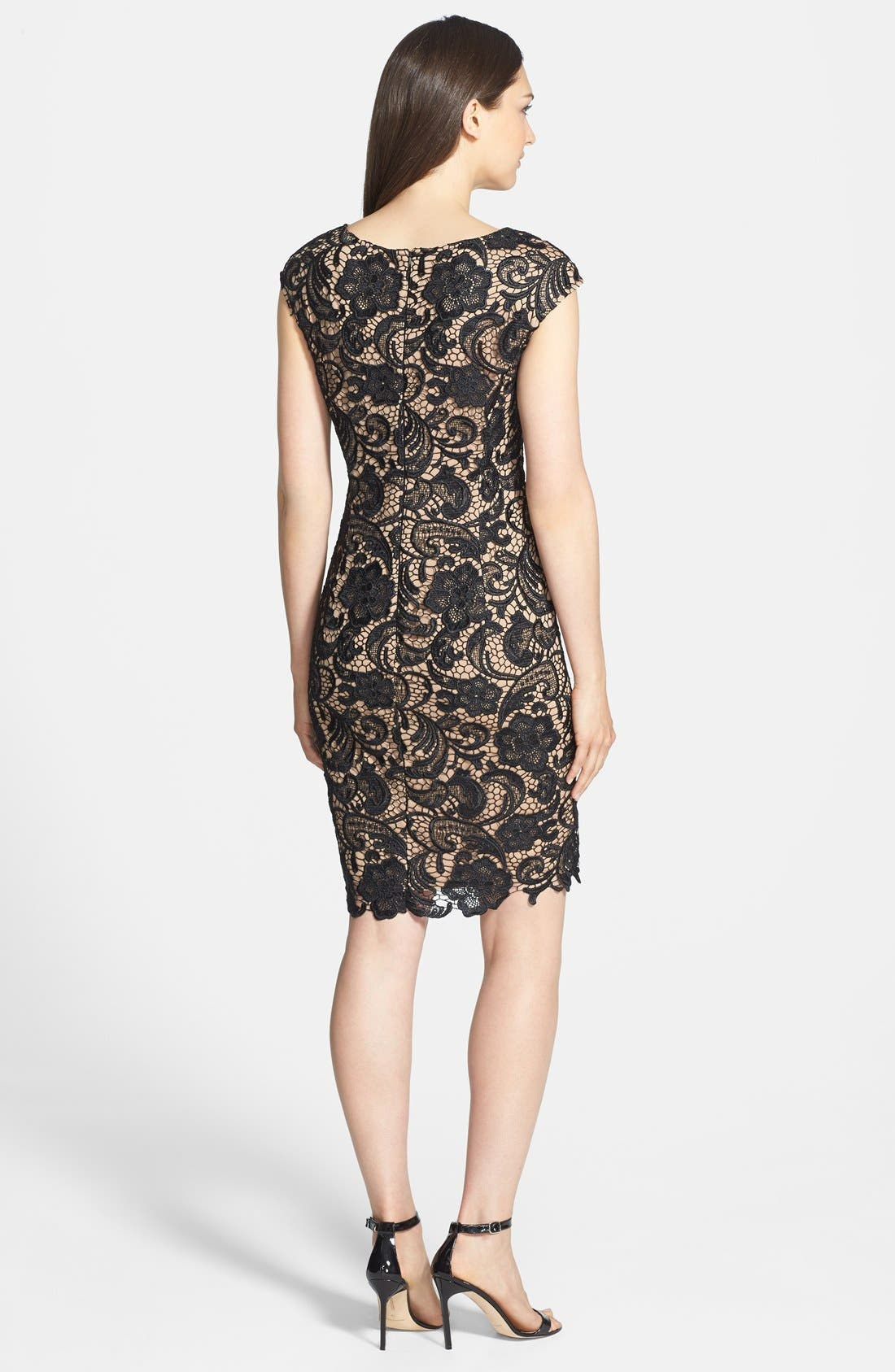 Alternate Image 2  - Alex Evenings Cap Sleeve Lace Dress