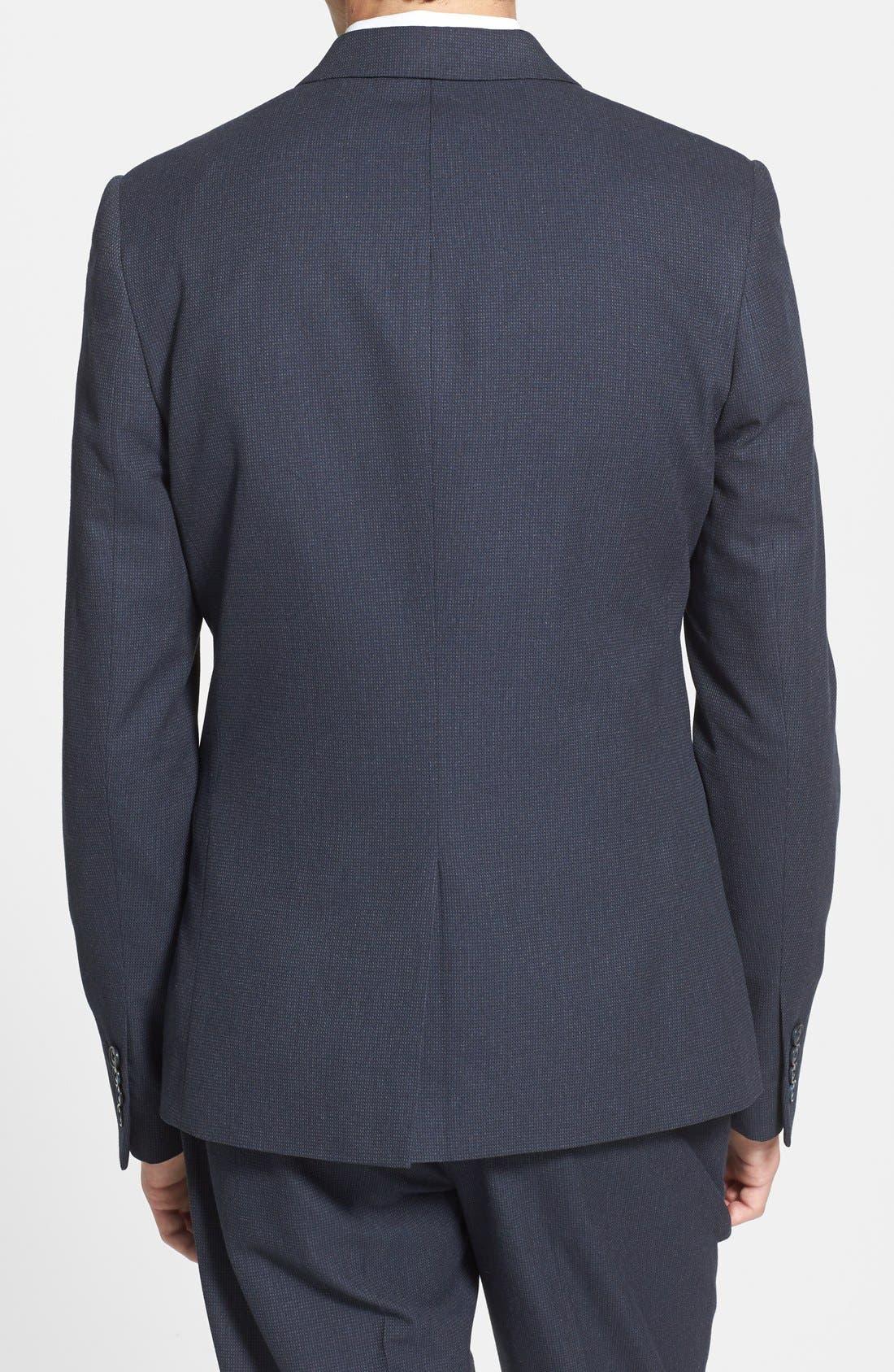 Alternate Image 2  - Topman Navy Pin Dot Skinny Fit Suit Jacket