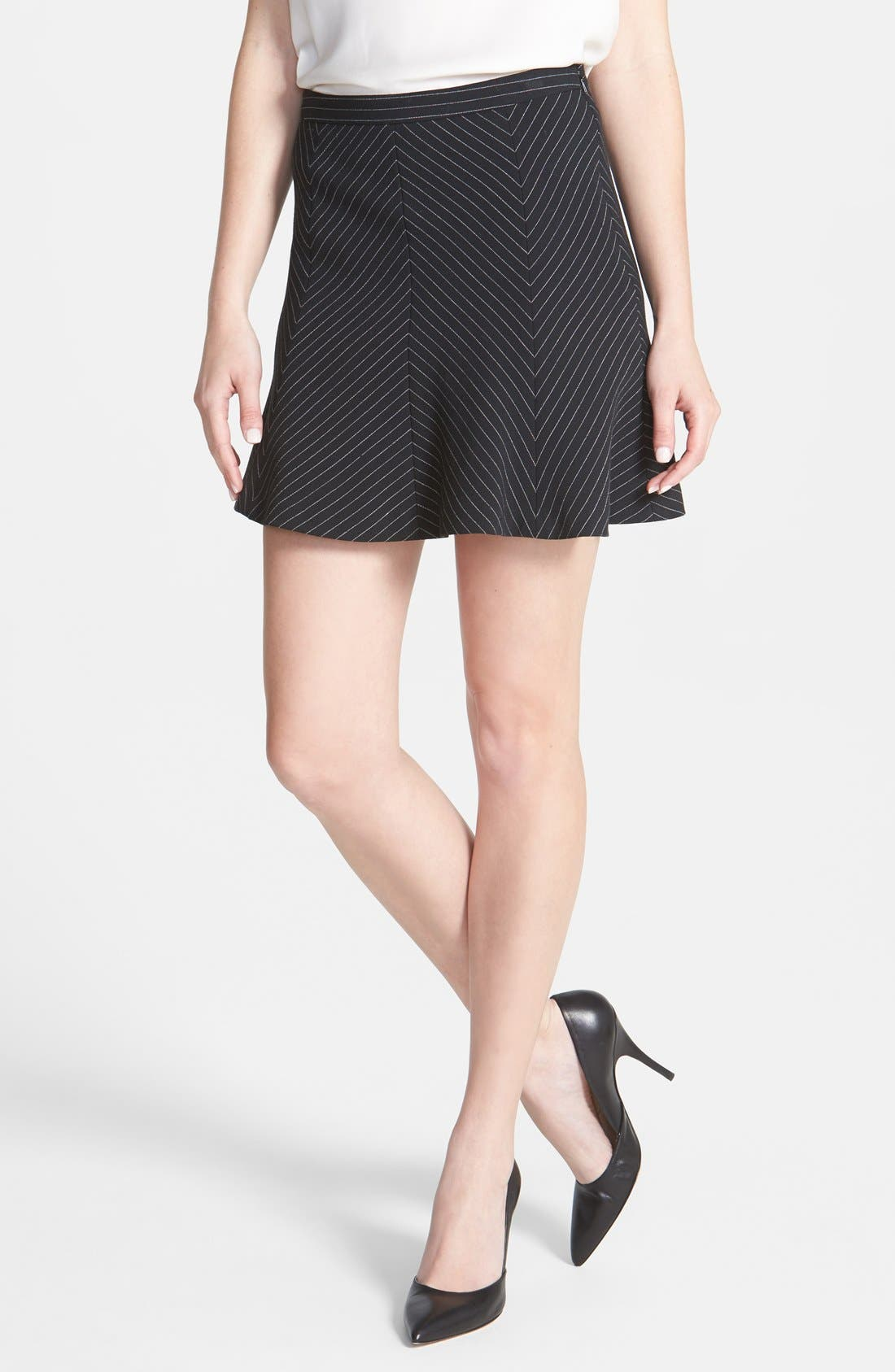 Alternate Image 1 Selected - MICHAEL Michael Kors Pinstripe Flare Miniskirt