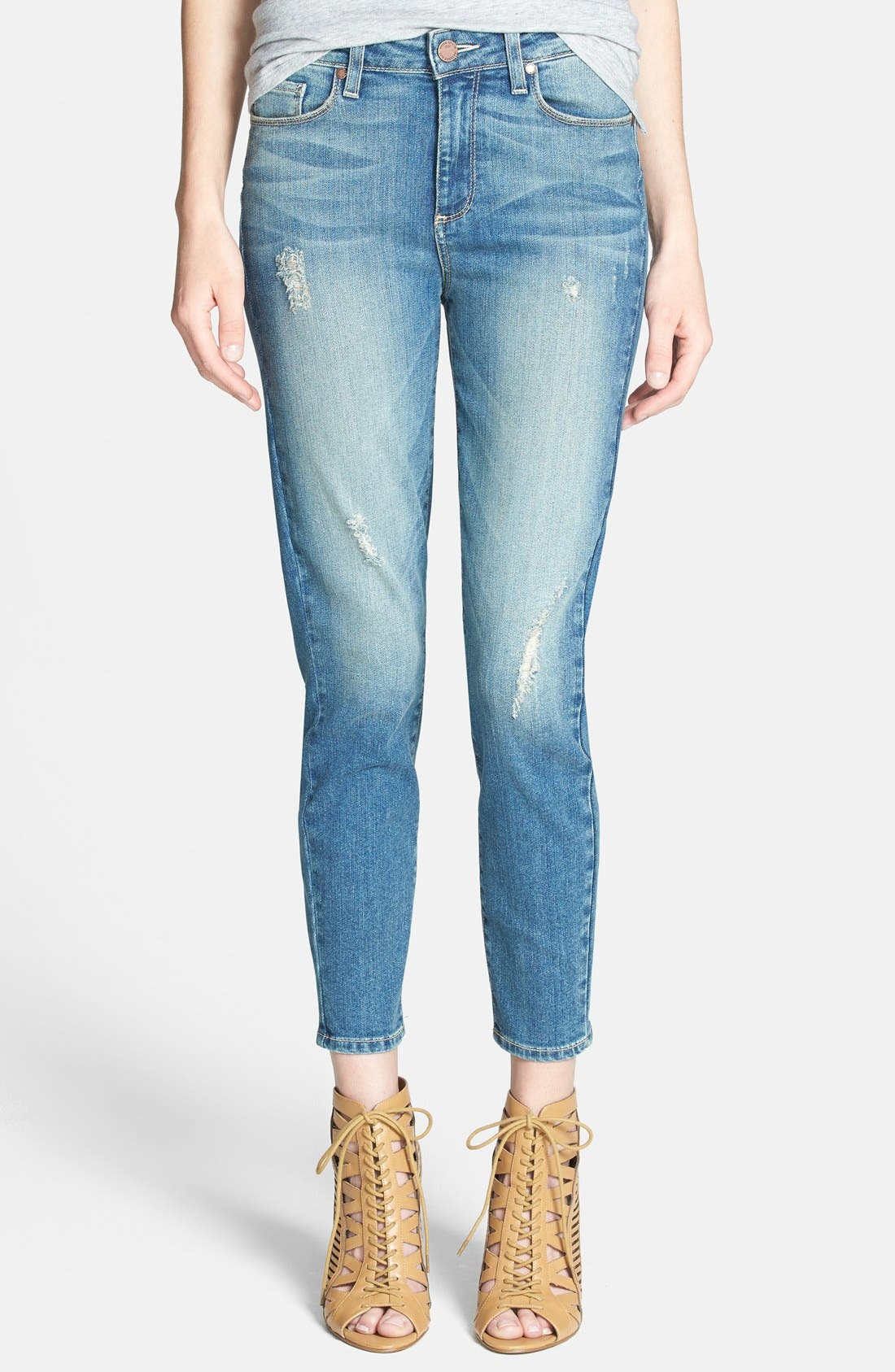 Alternate Image 1 Selected - Paige Denim 'Hoxton' Distressed High Rise Crop Jeans