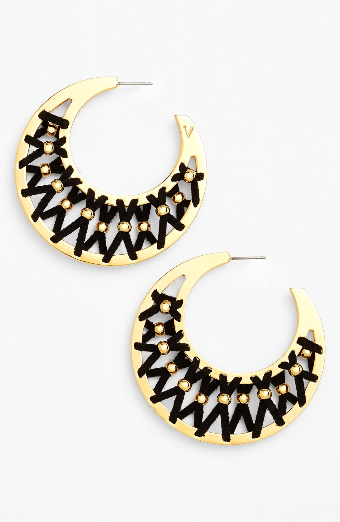 Main Image - Vince Camuto 'Summer Warrior' Leather Laced Hoop Earrings