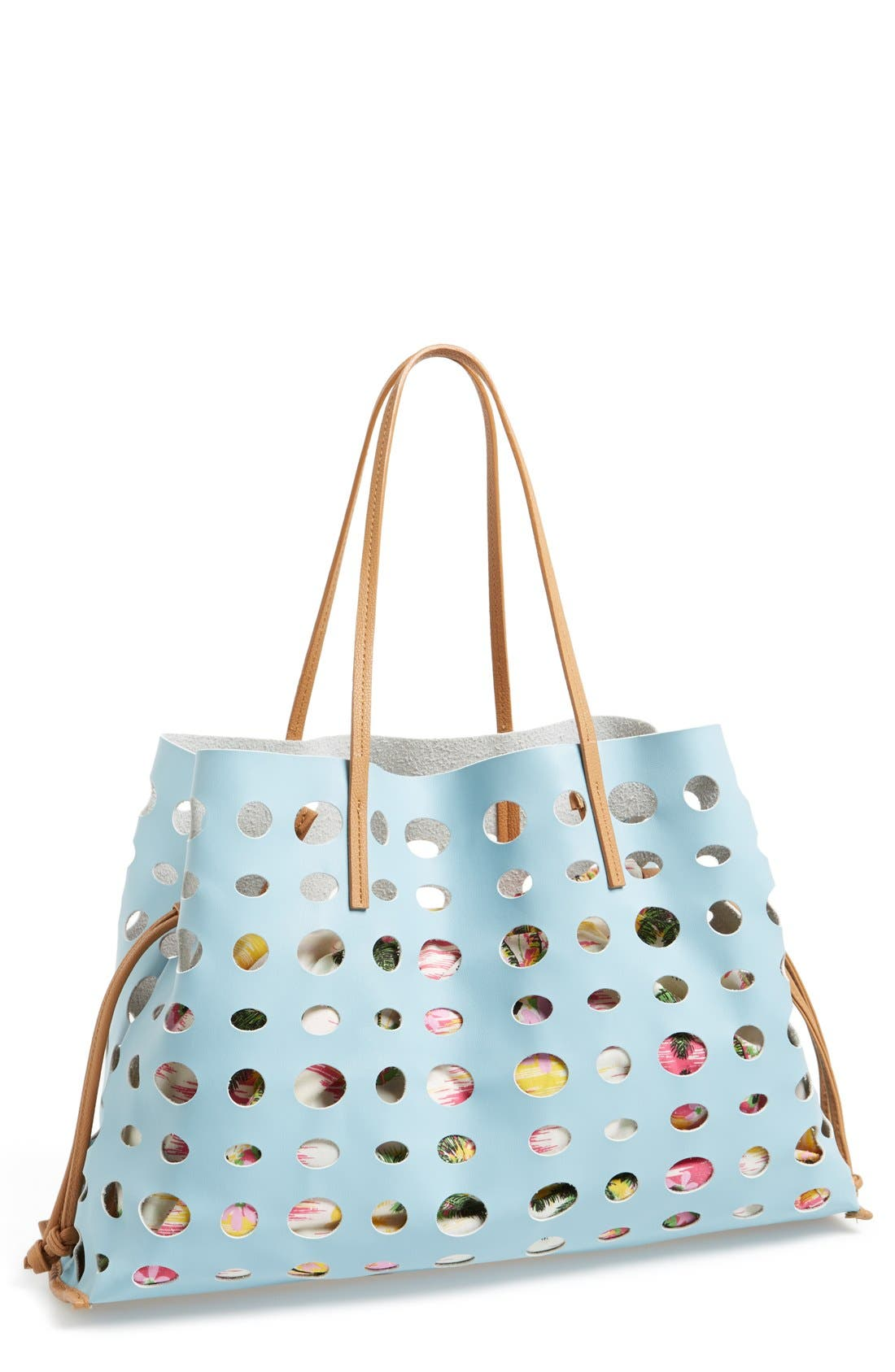 Main Image - POVERTY FLATS by rian 'Large' Perforated Faux Leather Tote