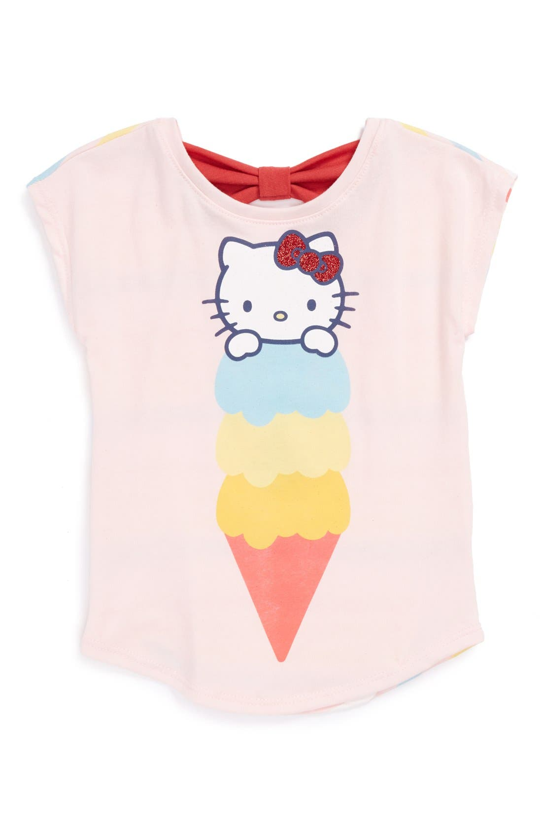 Alternate Image 1 Selected - Mighty Fine Hello Kitty® Bow Back Tee (Toddler Girls)