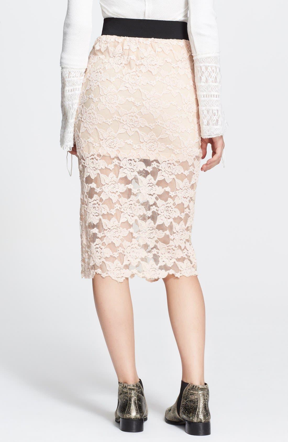 Alternate Image 2  - Free People Lace Pencil Skirt