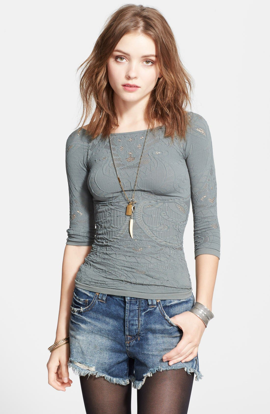 Main Image - Free People Open Knit Off Shoulder Top