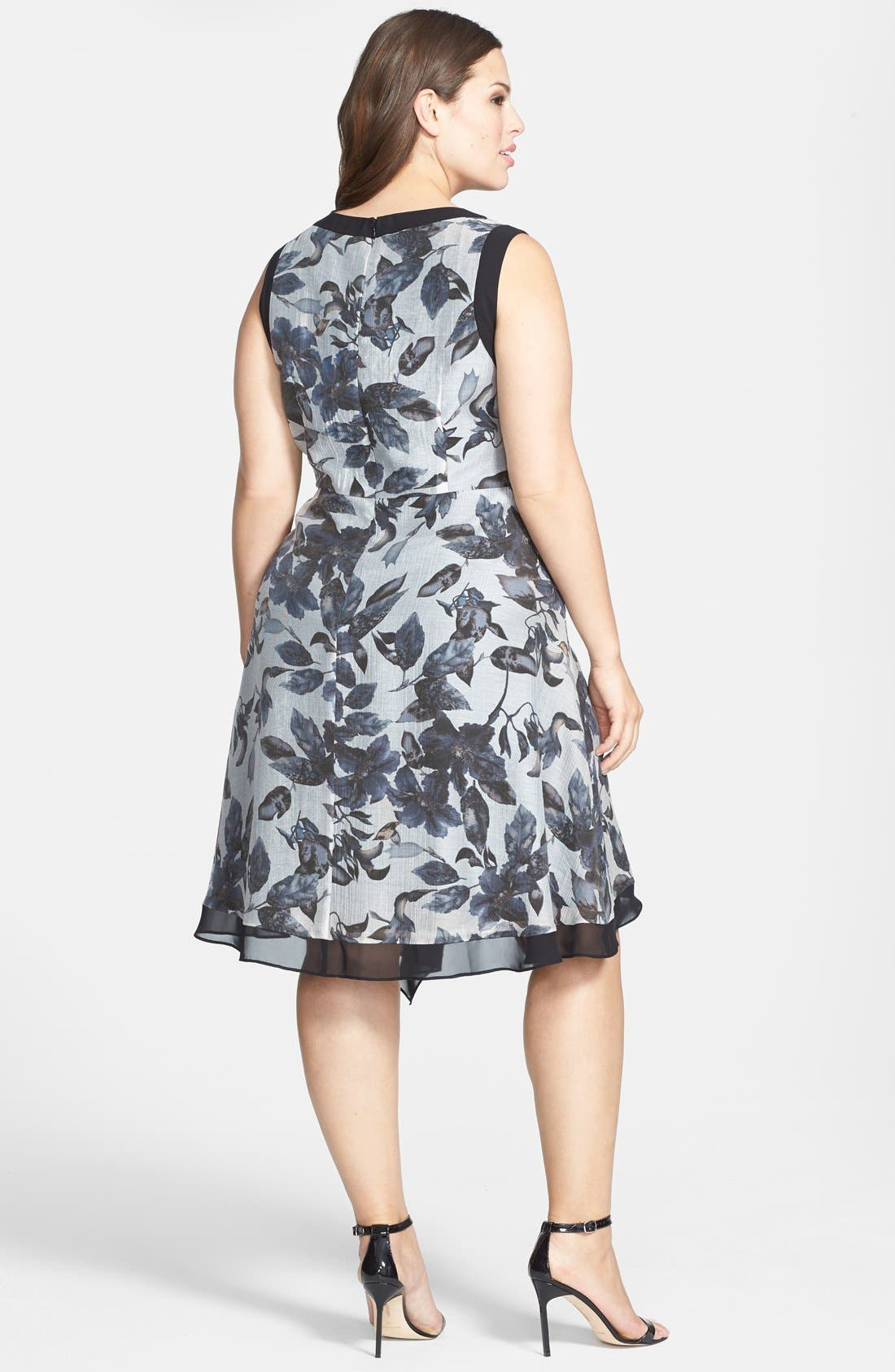 Alternate Image 2  - Adrianna Papell Contrast Trim Print Sleeveless Dress (Plus Size)