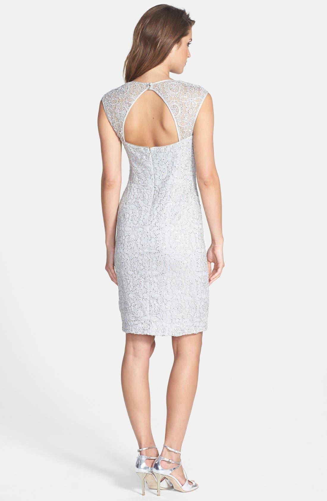 Alternate Image 2  - Adrianna Papell Sequin Lace Sheath Dress (Regular & Petite)