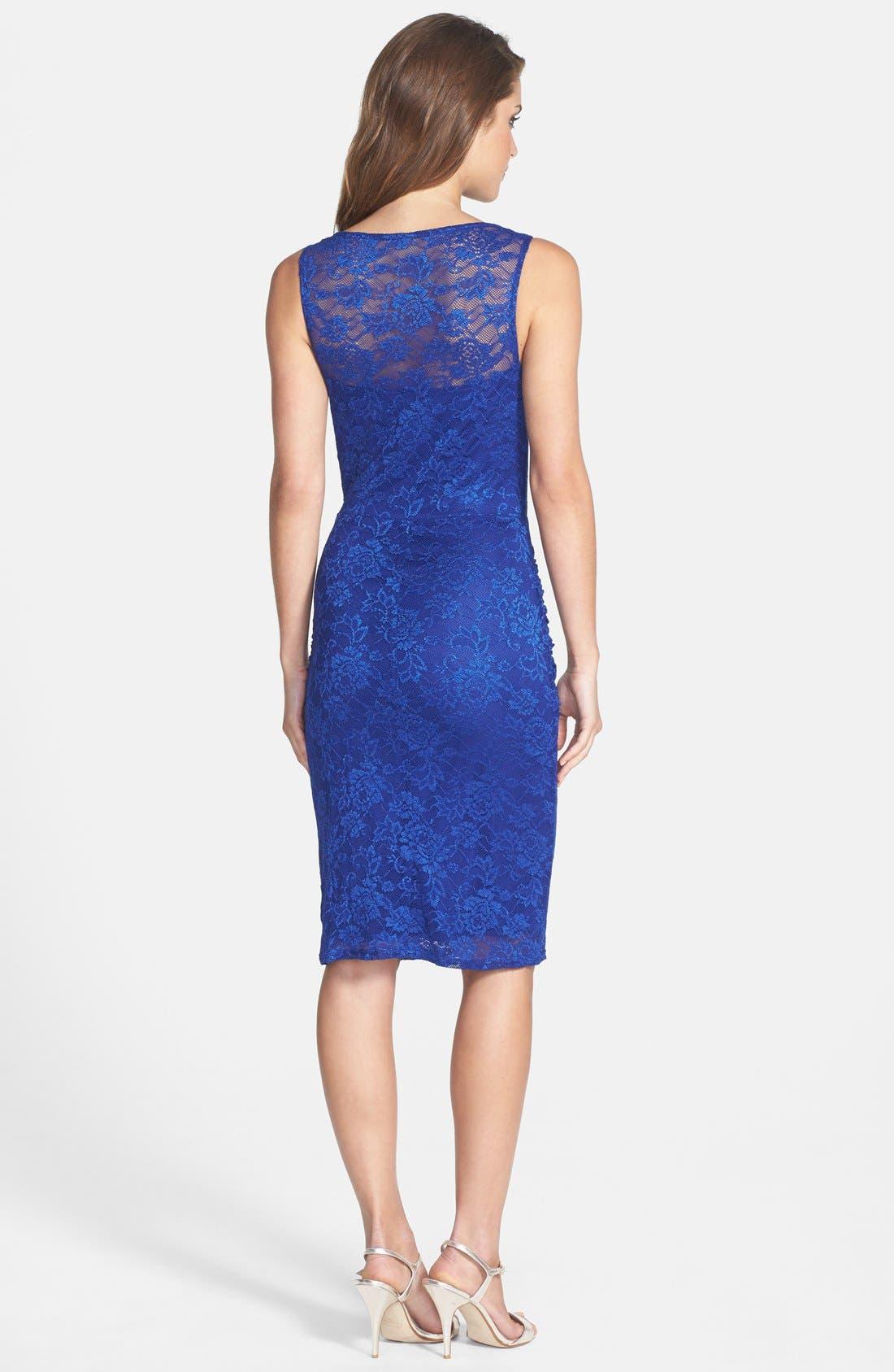 Alternate Image 2  - Laundry by Shelli Segal Shirred Lace Sheath Dress