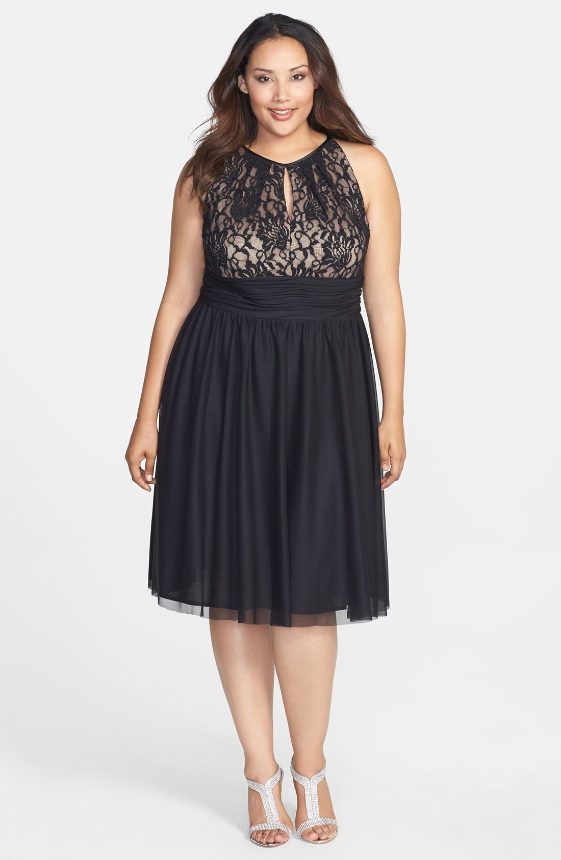 Main Image - Jessica Howard Beaded Waist Fit & Flare Dress (Plus Size)
