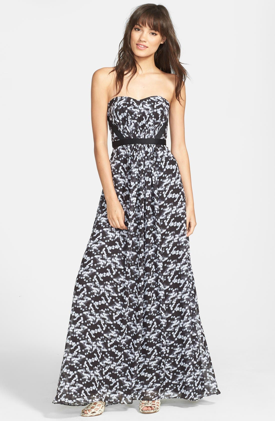 Main Image - Hailey by Adrianna Papell Print Strapless Chiffon Gown